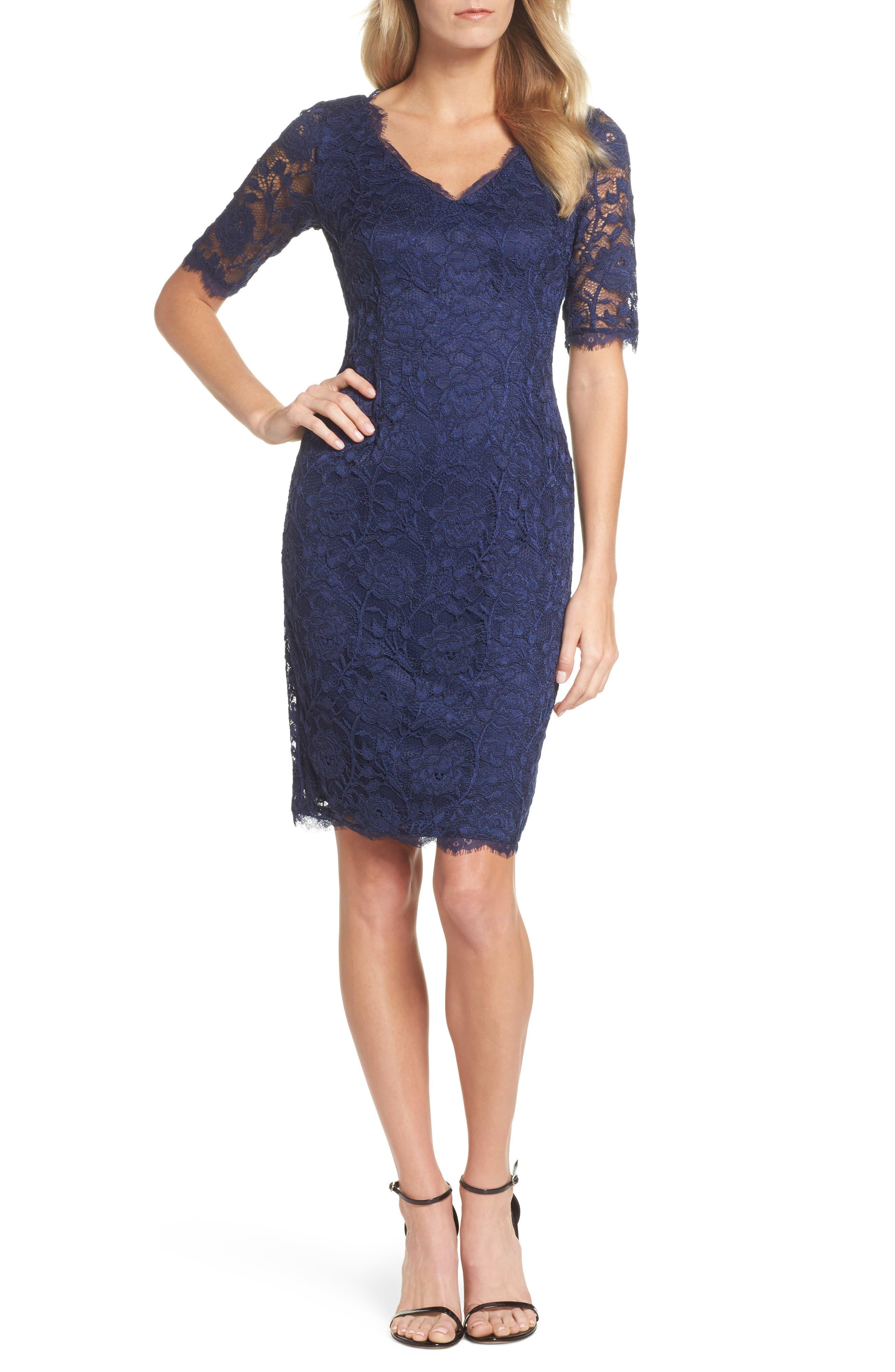 Rose Lace Sheath Dress,                         Main,                         color, 412