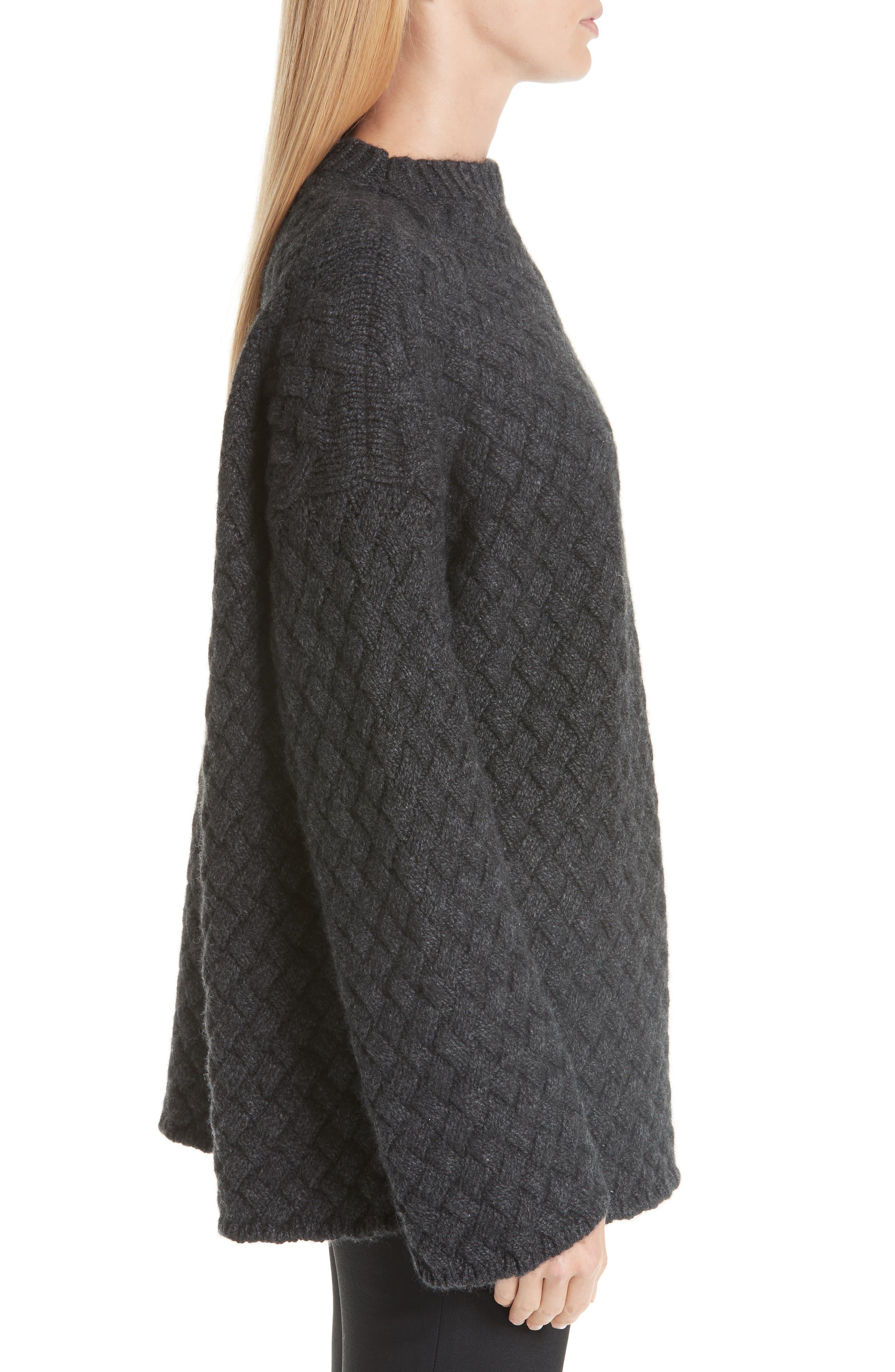 Oversized Braided Cashmere Sweater,                             Alternate thumbnail 3, color,                             DARK GREY