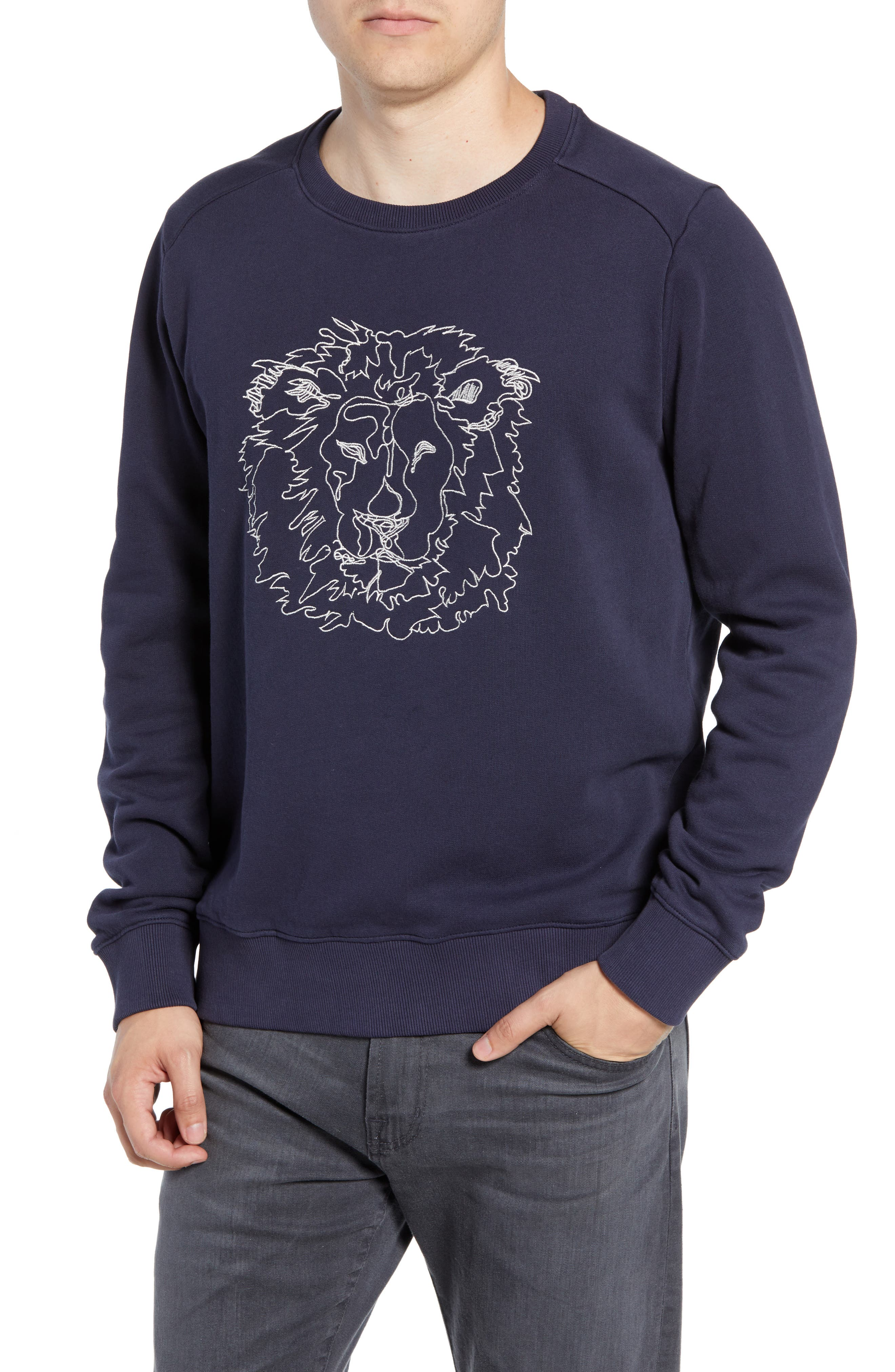 Slim Fit Lion Embroidered Sweatshirt,                             Main thumbnail 1, color,                             NAVY BLAZER