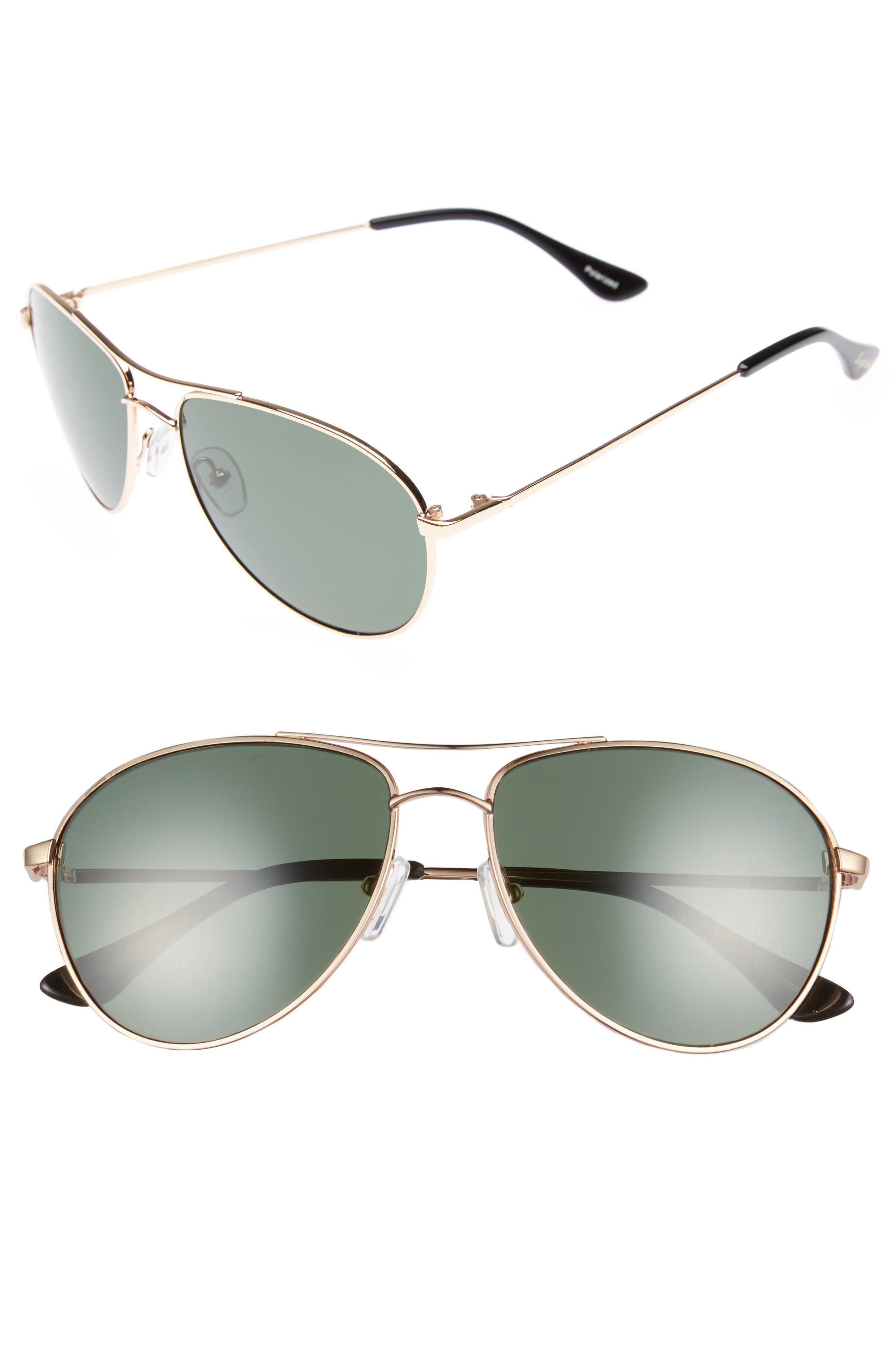 Orville 58mm Polarized Aviator Sunglasses,                             Main thumbnail 2, color,