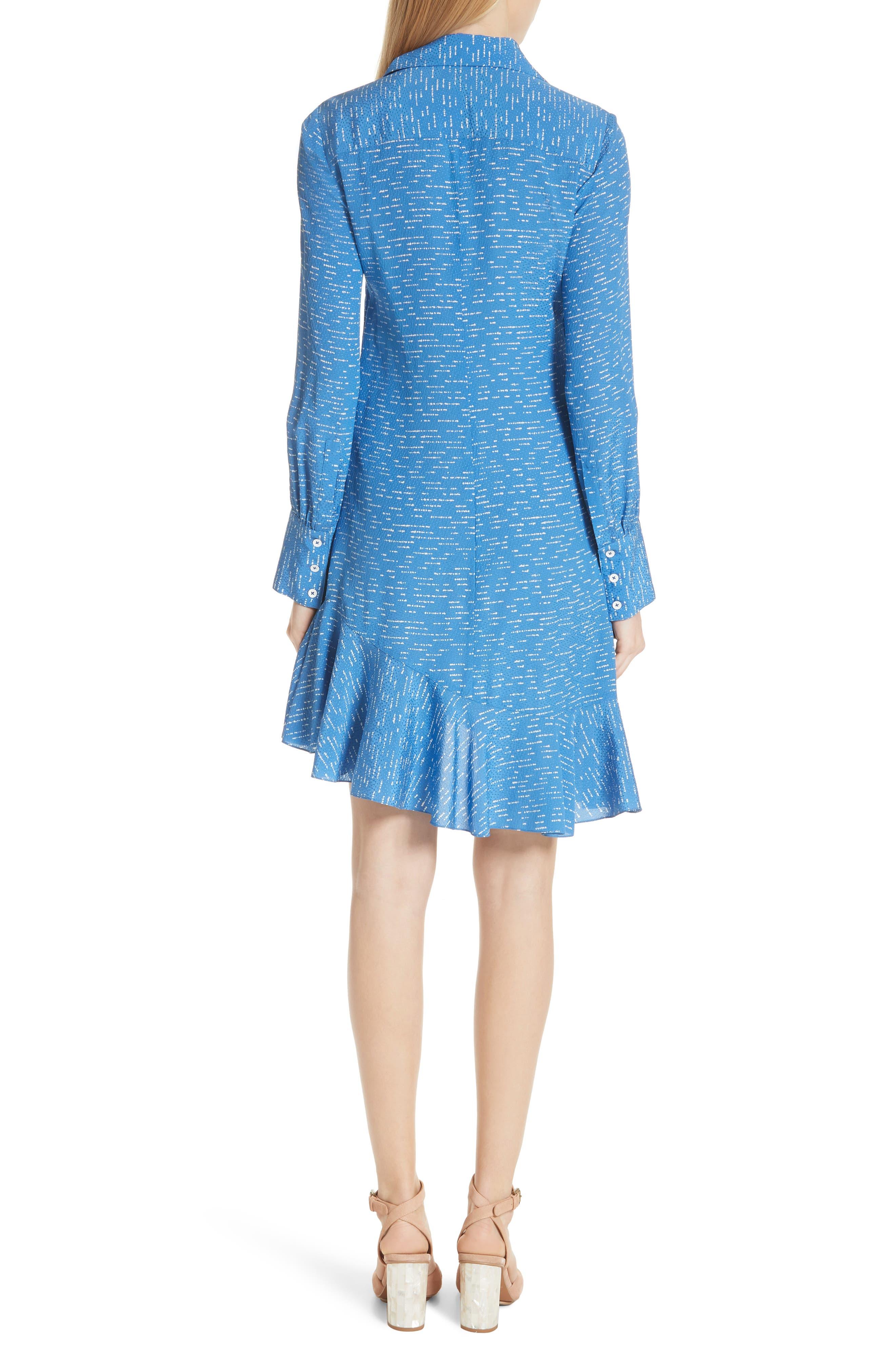 Silk Shirtdress with Asymmetric Hem,                             Alternate thumbnail 2, color,                             BALTIC