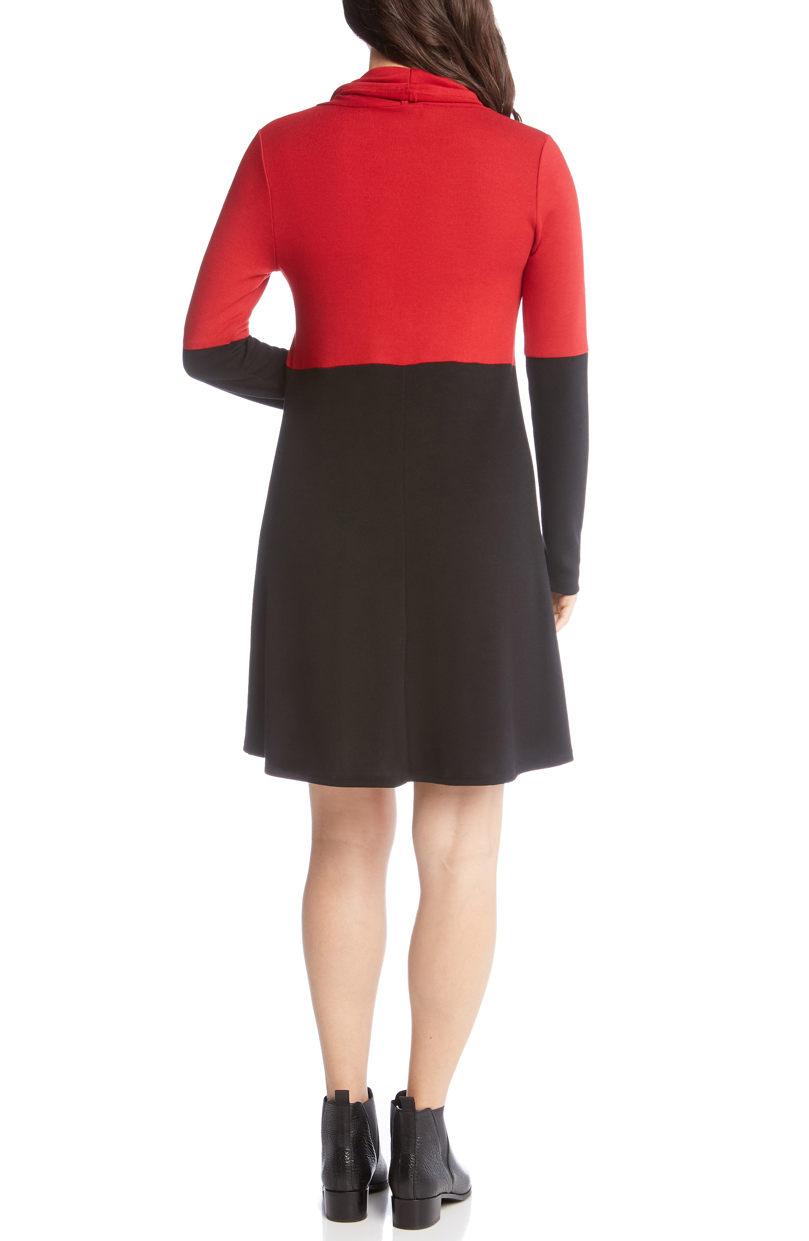 Colorblock Knit A-Line Dress,                             Alternate thumbnail 2, color,                             BLACK WITH RED