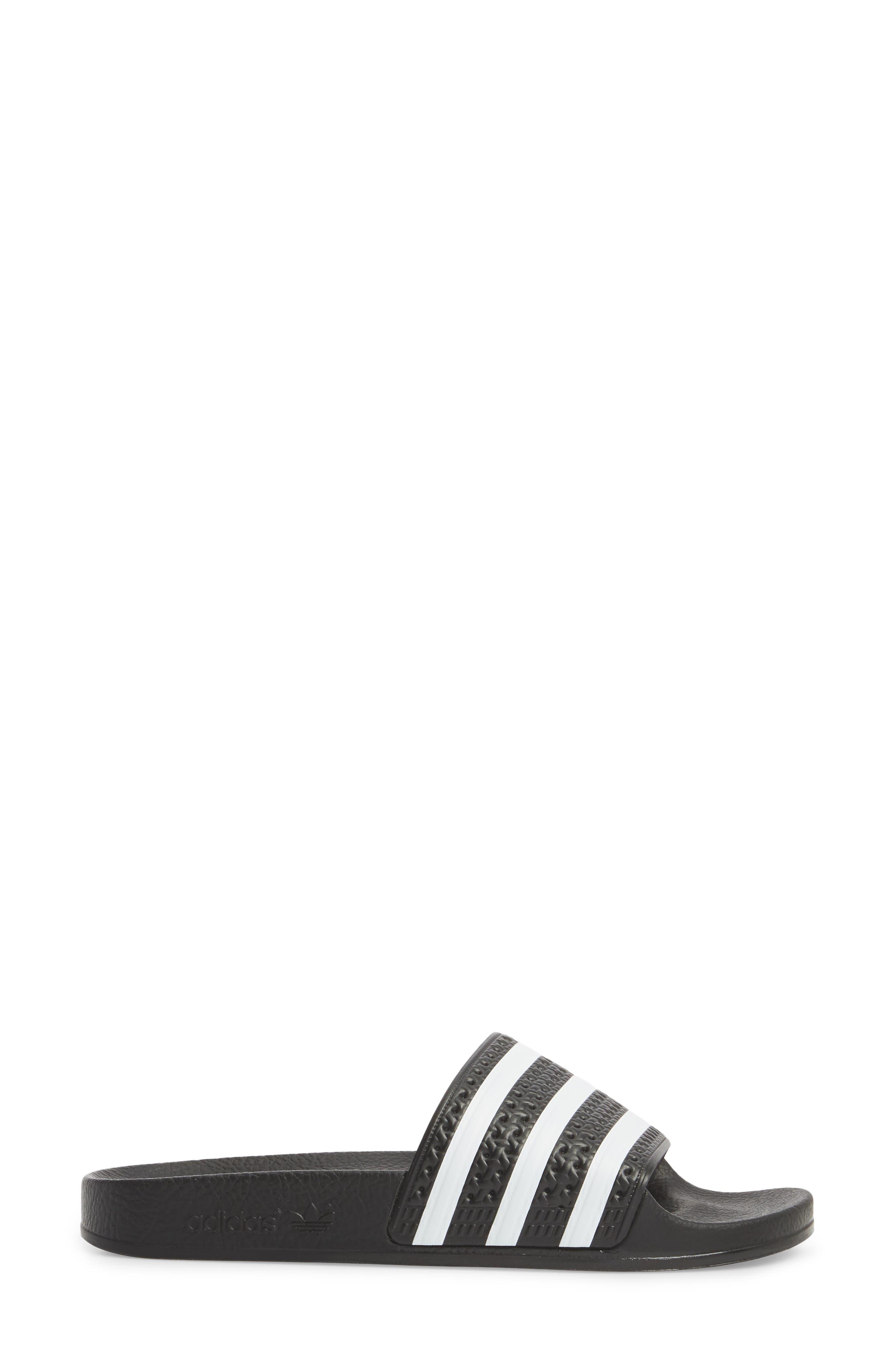 'Adilette' Slide Sandal,                             Alternate thumbnail 3, color,                             CORE BLACK/ WHITE/ CORE BLACK