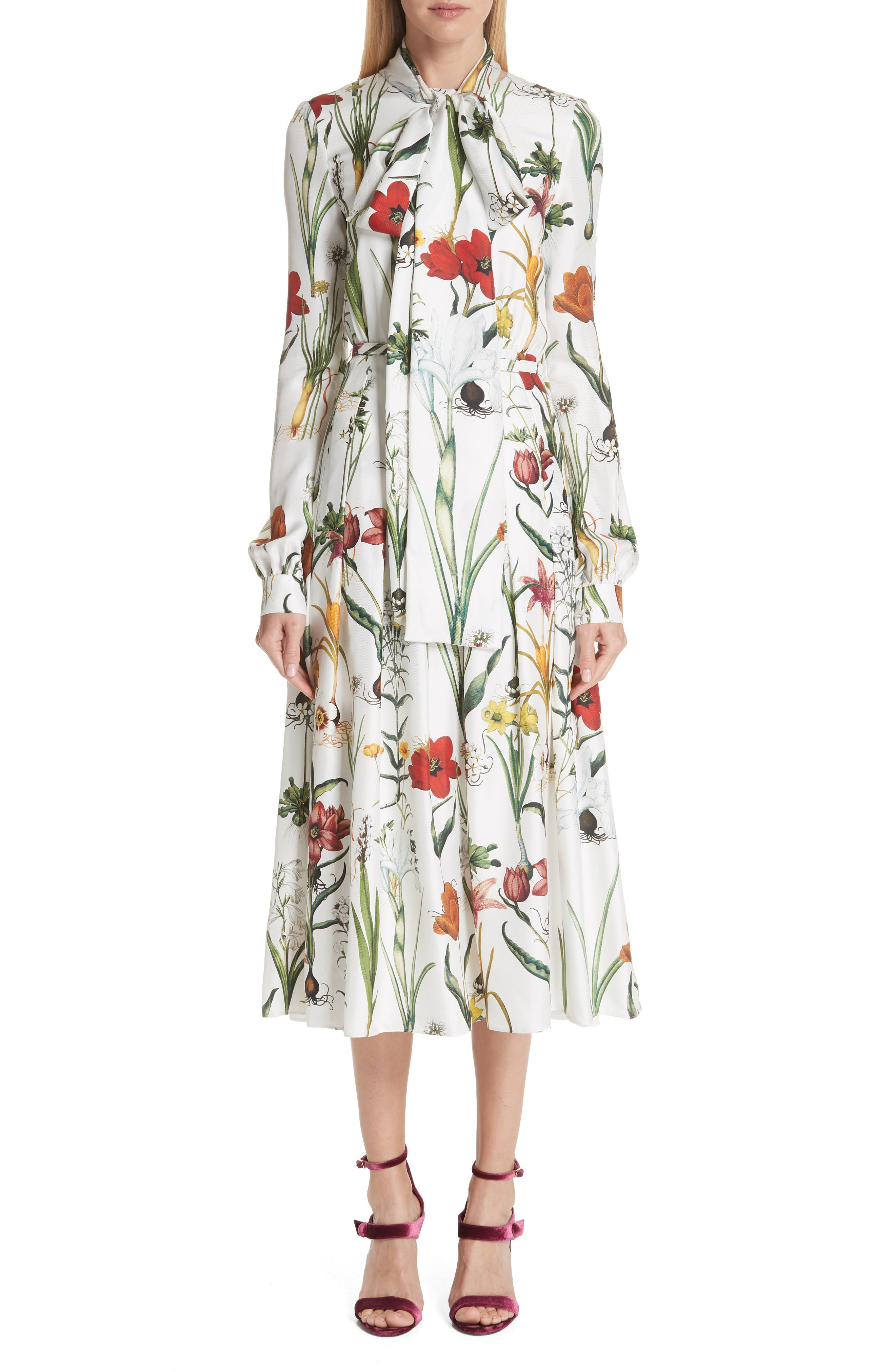Oscar De La Renta Harvest Floral Silk Twill Dress, White