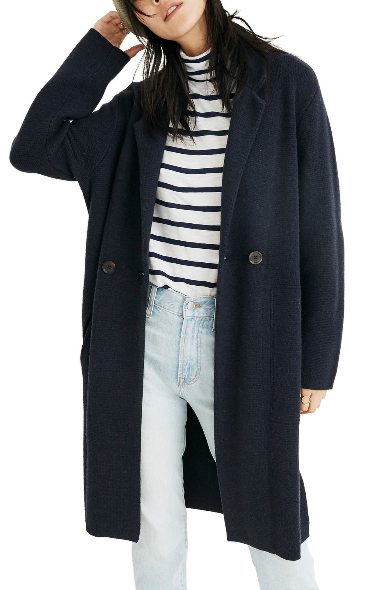 Double Breasted Sweater Coat,                             Main thumbnail 1, color,                             NAUTICAL BLACK
