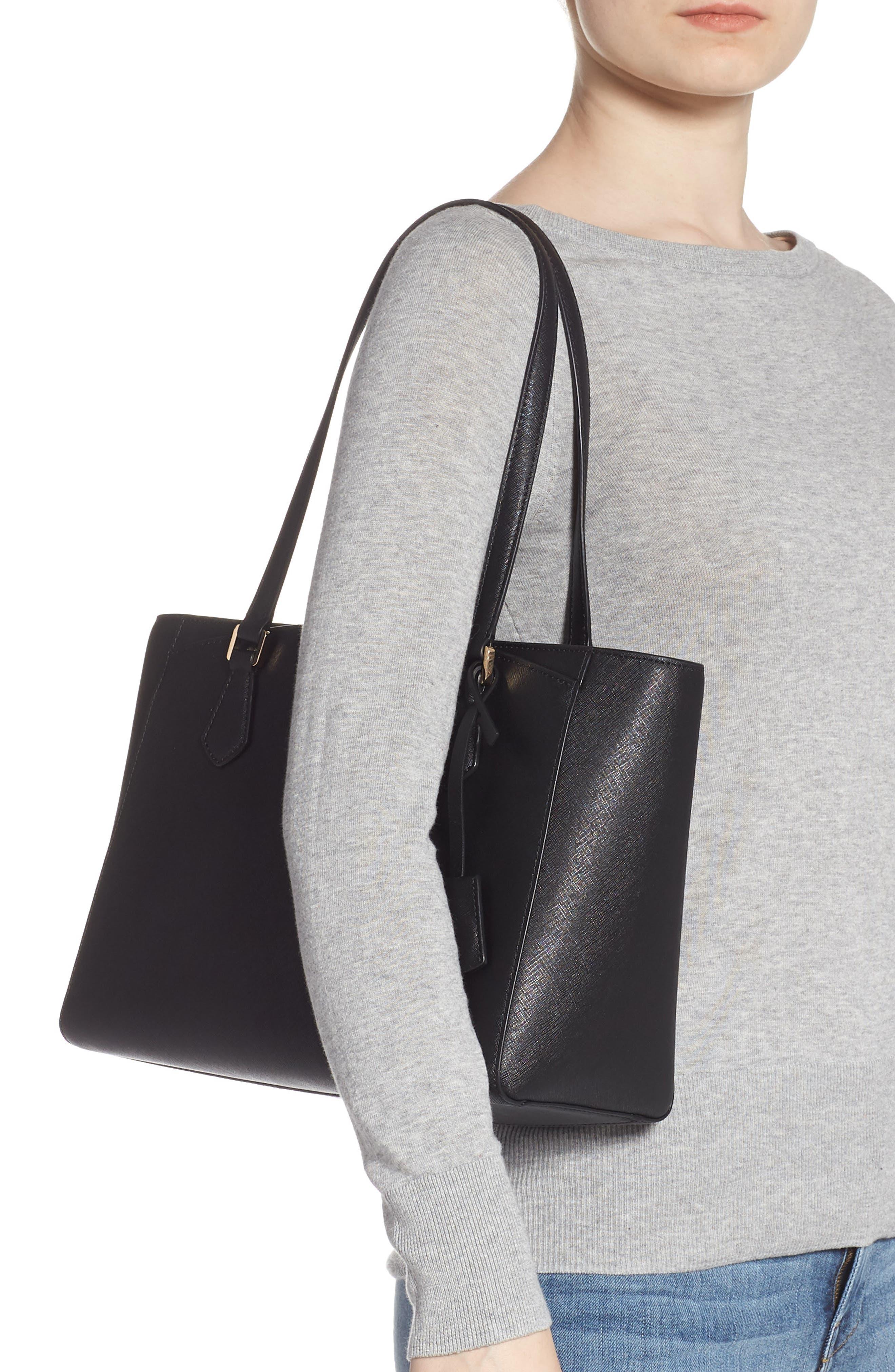 Small Robinson Saffiano Leather Tote,                             Alternate thumbnail 2, color,                             BLACK
