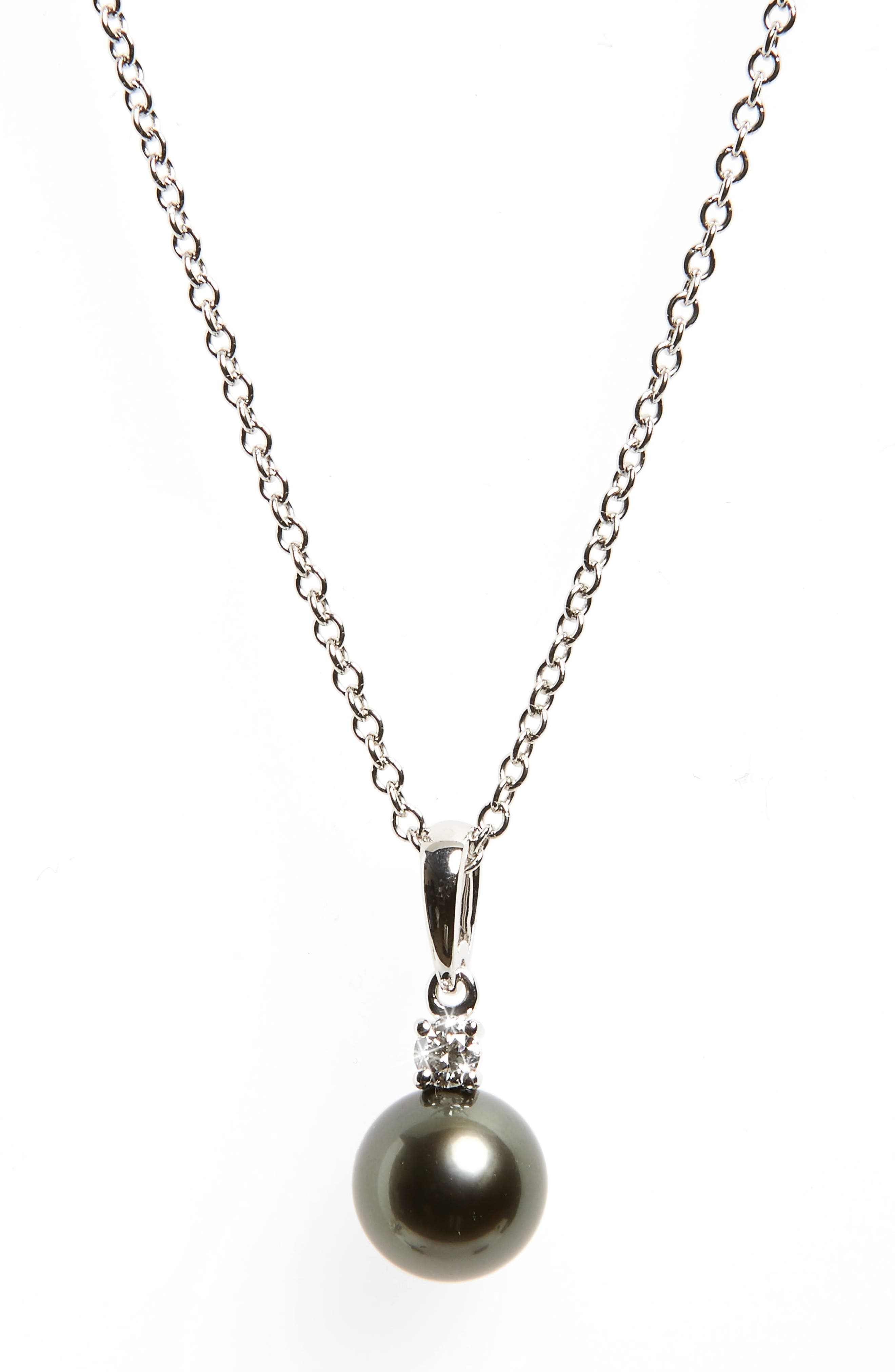 Diamond & Black Cultured Pearl Pendant Necklace,                             Main thumbnail 1, color,                             WHITE GOLD