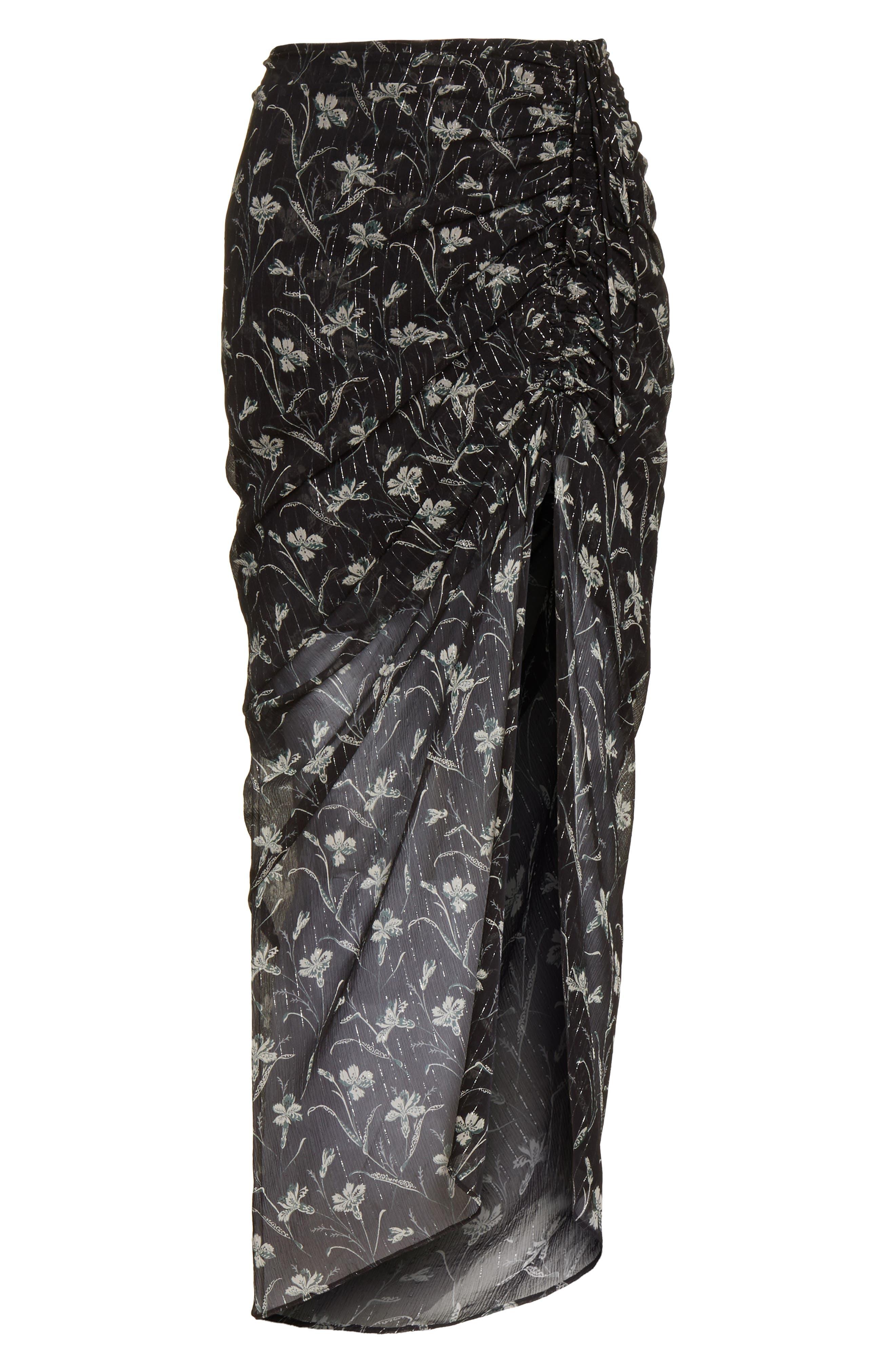 Mae Metallic Stripe Silk Midi Skirt,                             Alternate thumbnail 6, color,