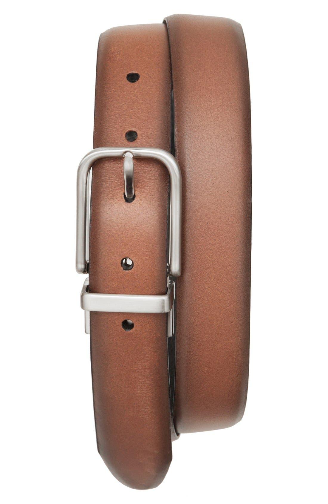 Reversible Leather Belt,                             Alternate thumbnail 2, color,                             TAN/ BLACK