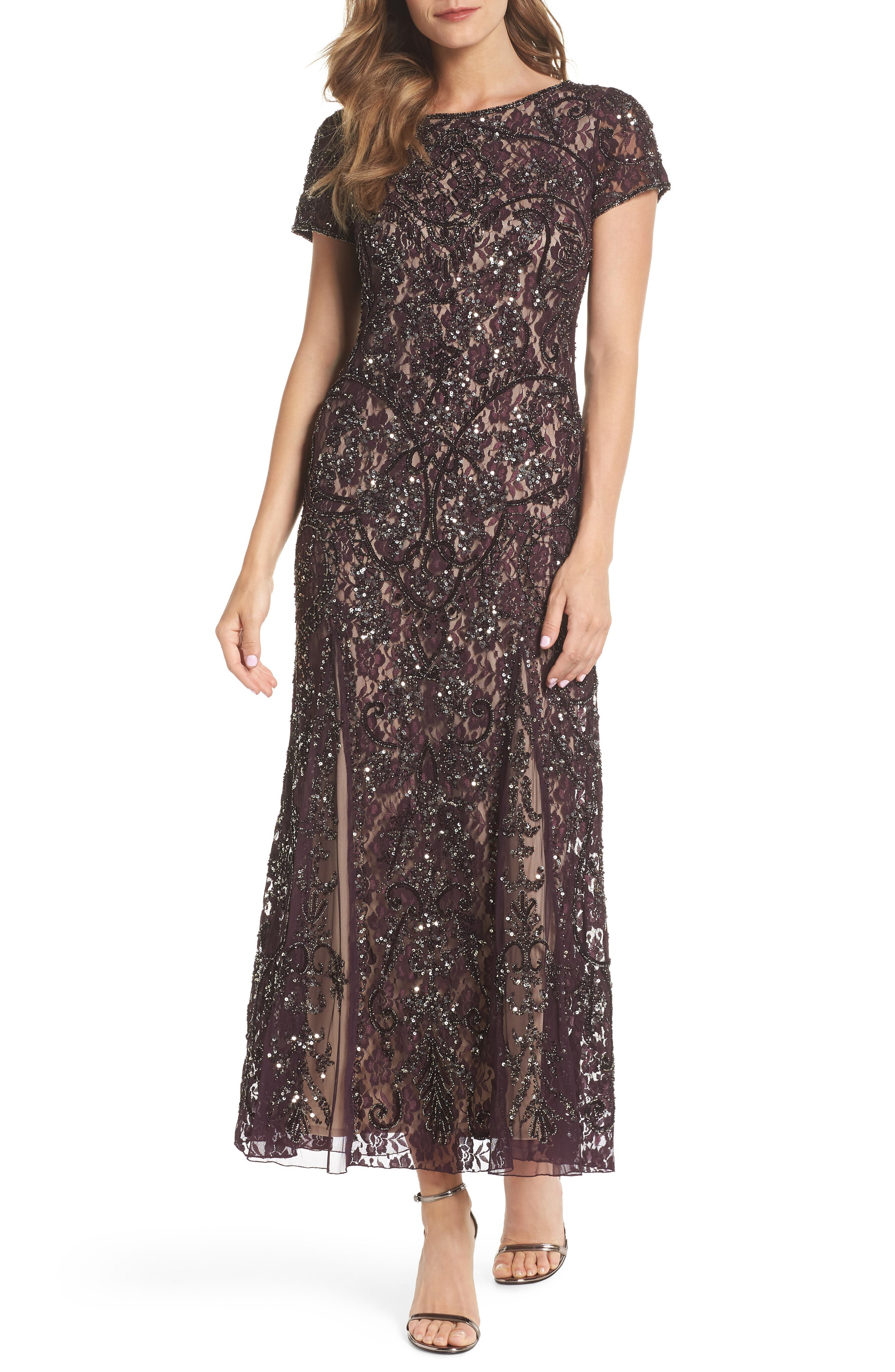 Embellished Lace Gown,                         Main,                         color, 502