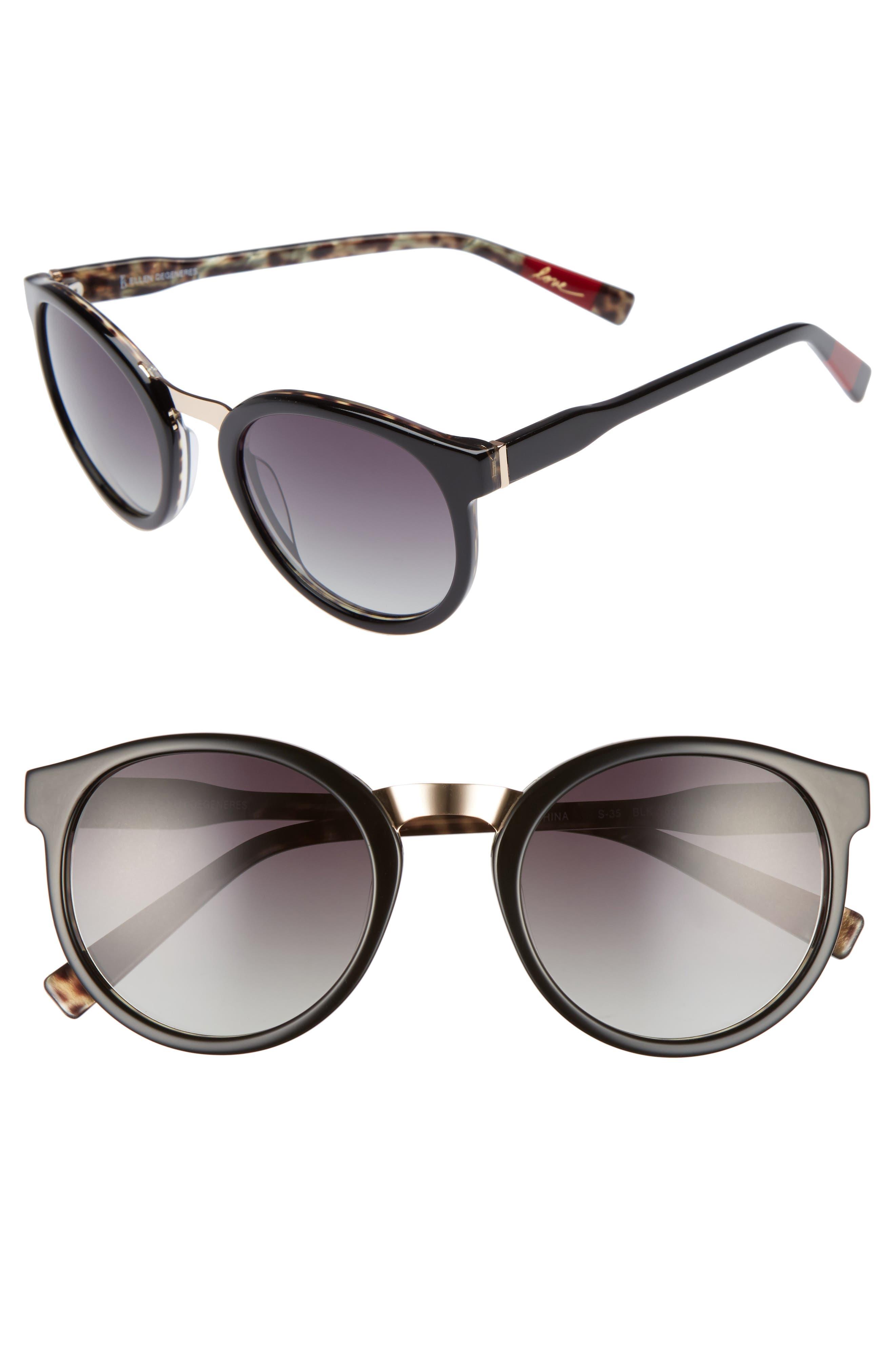 53mm Round Sunglasses,                             Main thumbnail 1, color,                             001