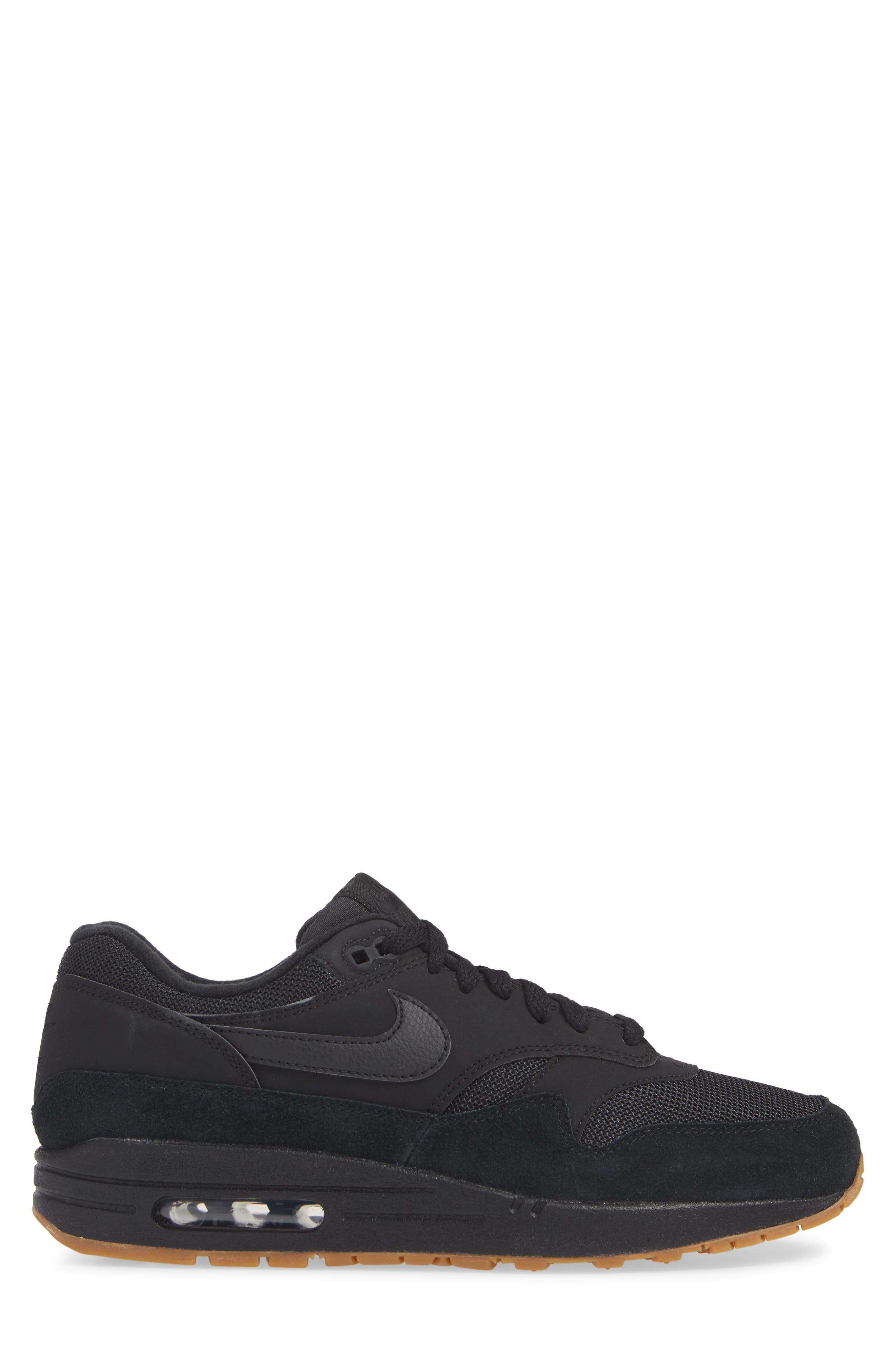 Air Max 1 Sneaker,                             Alternate thumbnail 3, color,                             BLACK/ BLACK/ GUM MEDIUM BROWN