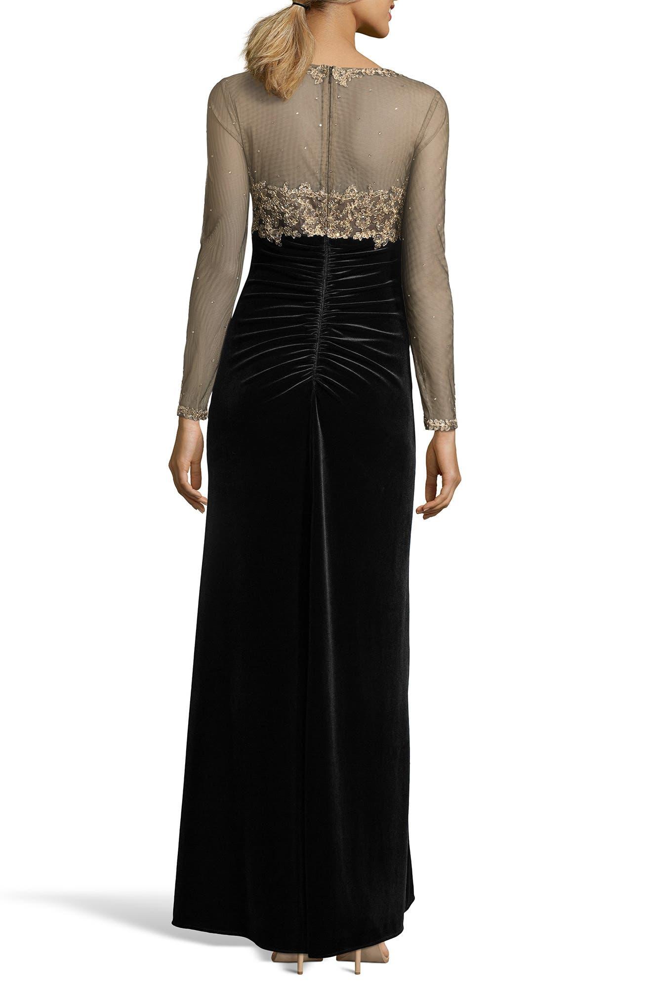 Illusion Bodice Velvet Gown,                             Alternate thumbnail 2, color,                             BLACK/ GOLD