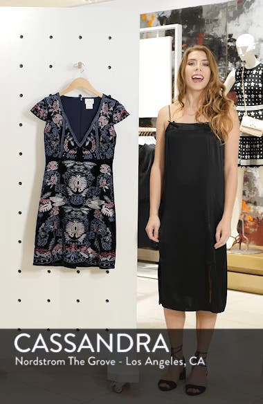Yolanda Velvet Embroidered Dress, sales video thumbnail