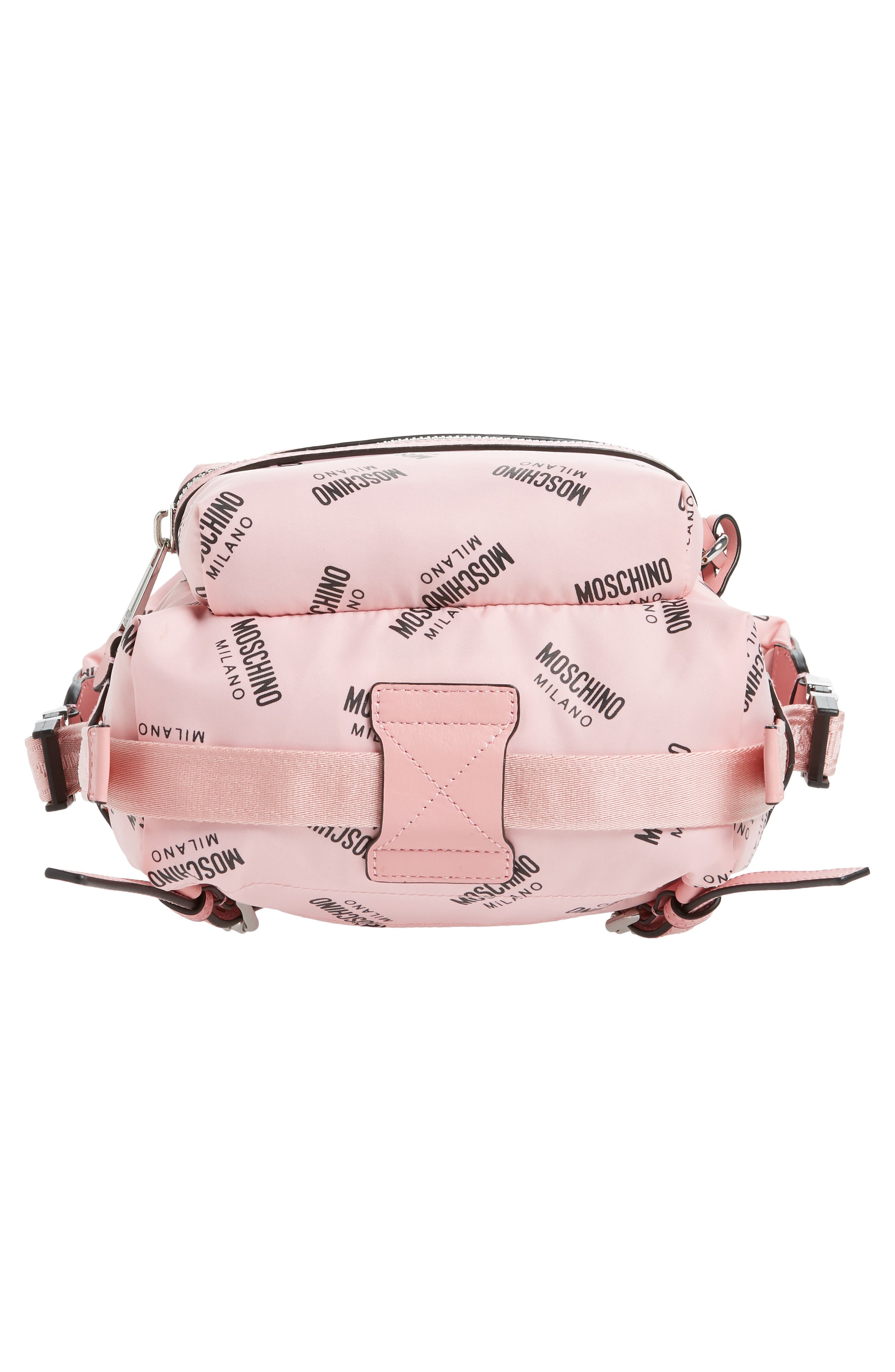 MOSCHINO,                             Small Logo Backpack,                             Alternate thumbnail 6, color,                             PINK