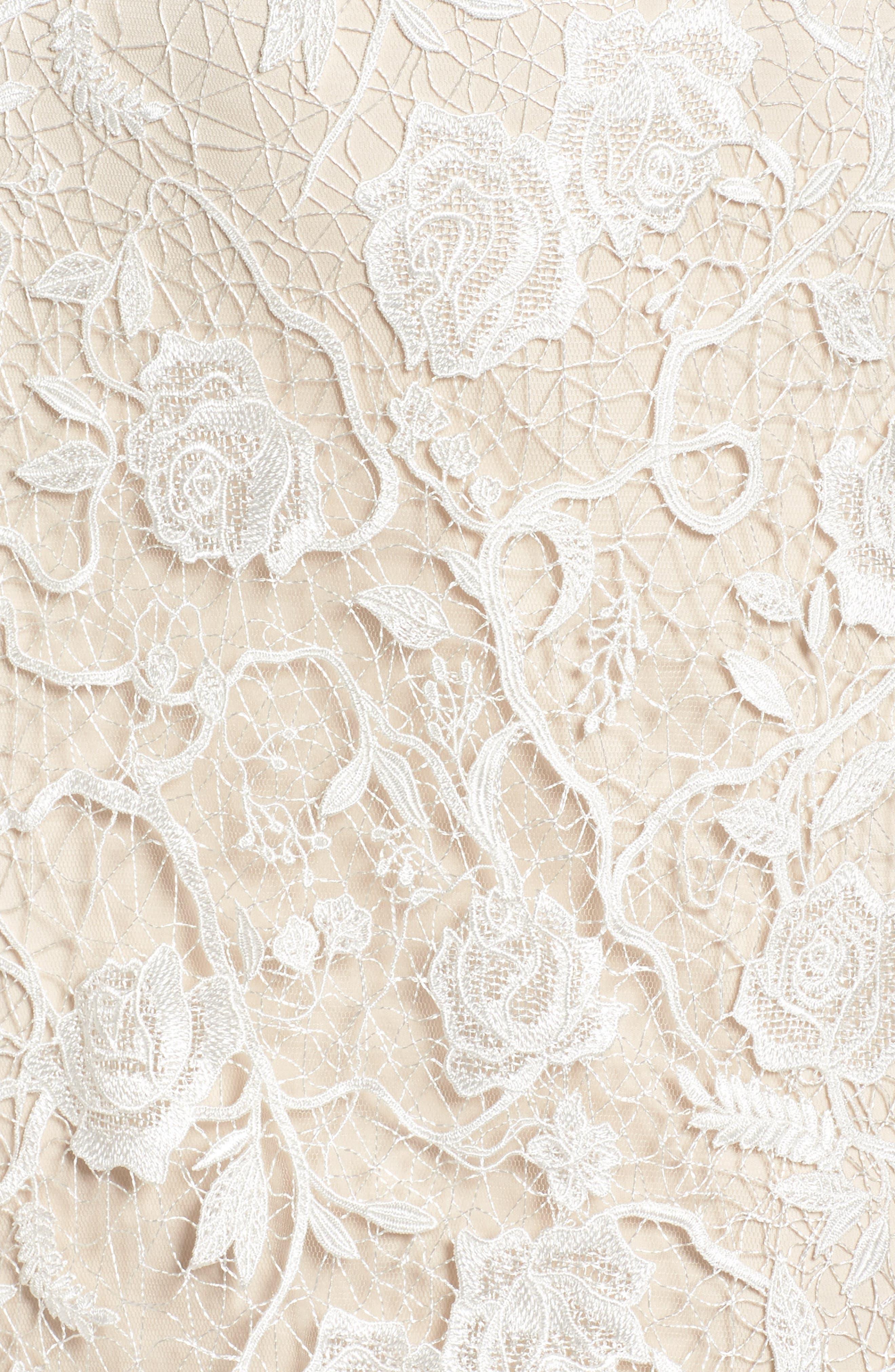 Long Sleeve A-Line Sheath Gown,                             Alternate thumbnail 6, color,                             IVORY/ PETAL