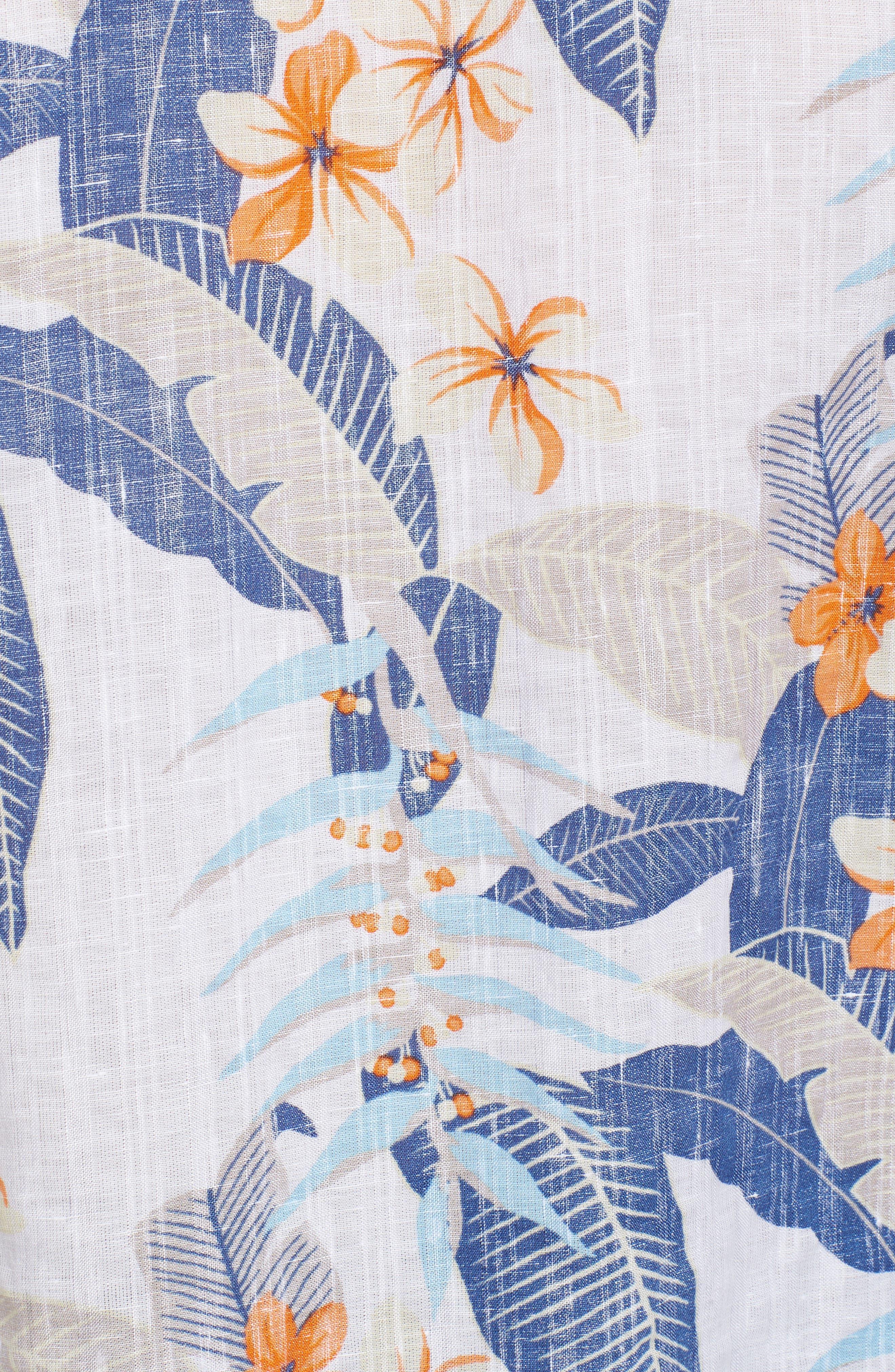 Liviea Leaves Linen Blend Camp Shirt,                             Alternate thumbnail 5, color,                             100