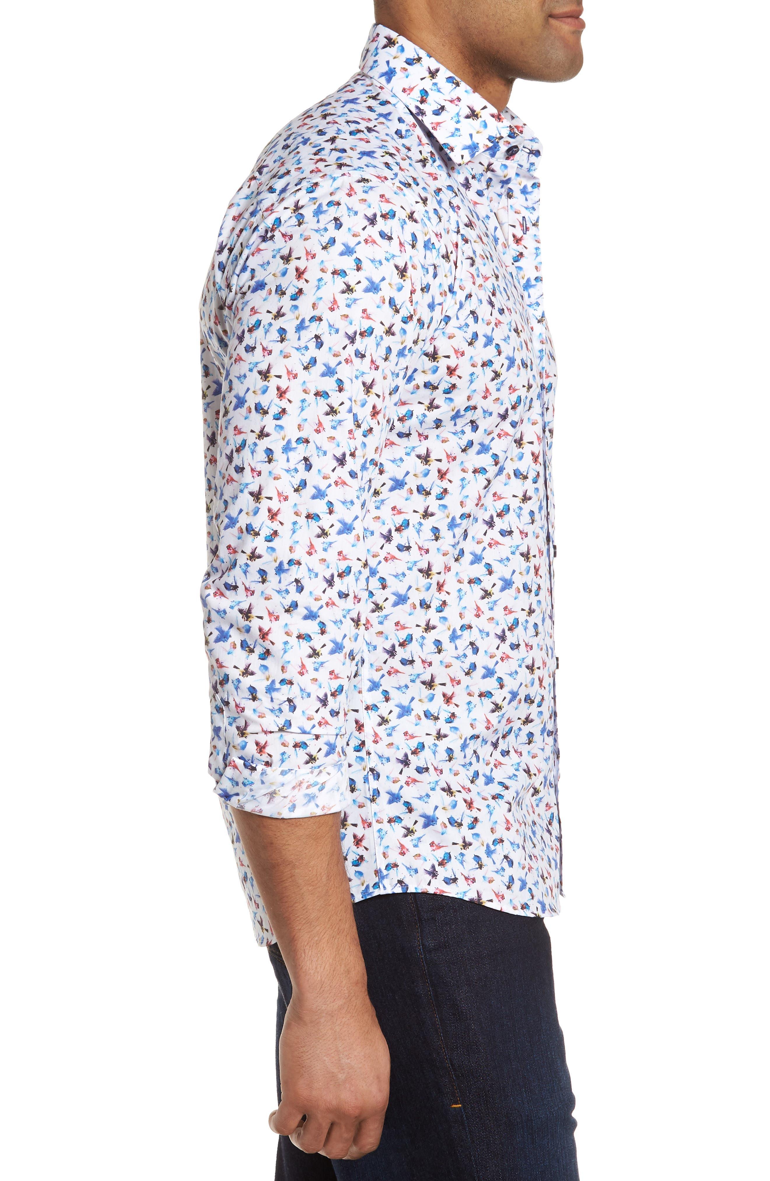 Slim Fit Bird Print Sport Shirt,                             Alternate thumbnail 3, color,                             963