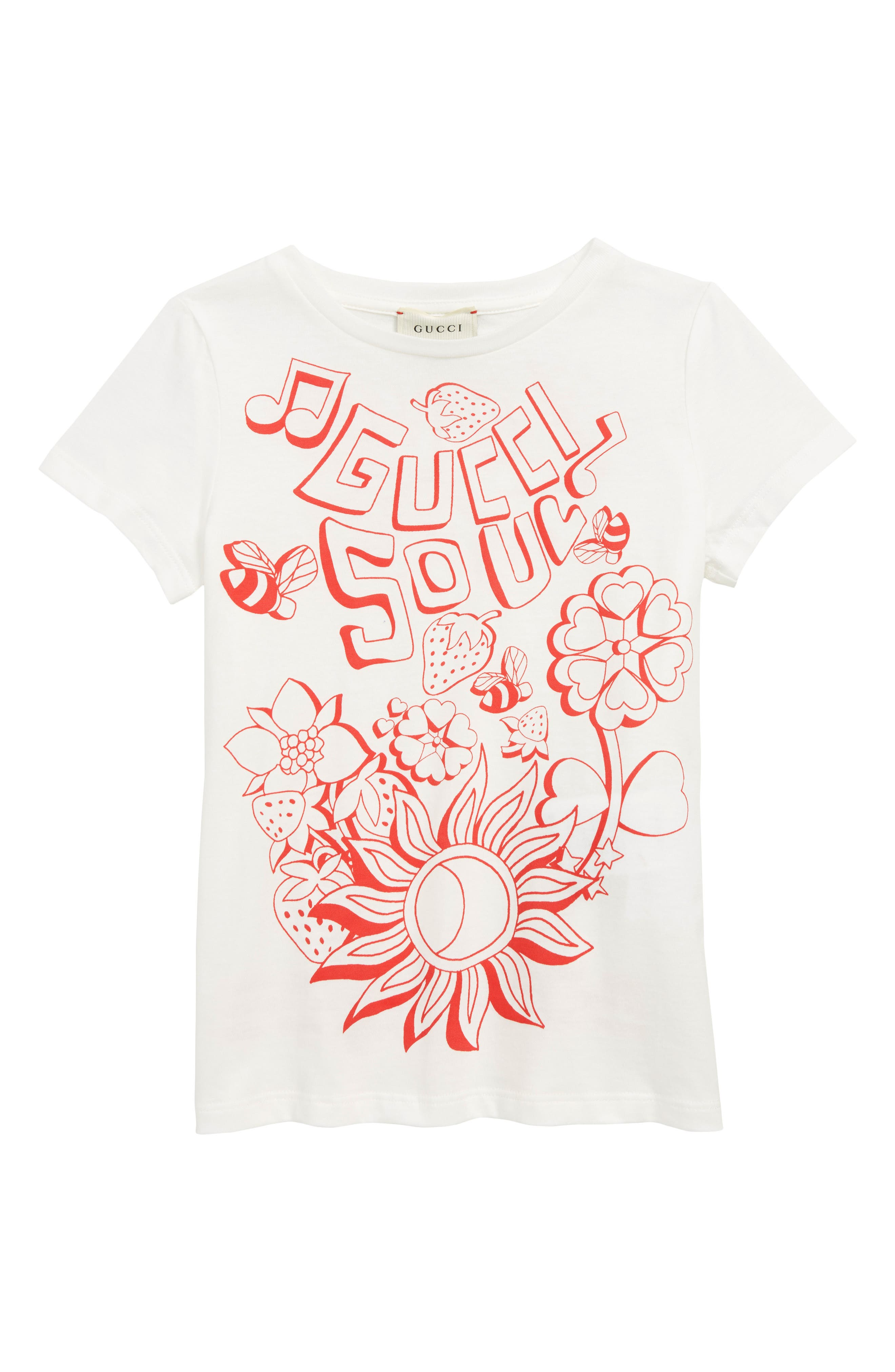 GUCCI,                             Graphic Tee,                             Main thumbnail 1, color,                             WHITE/ BRIGHT RED