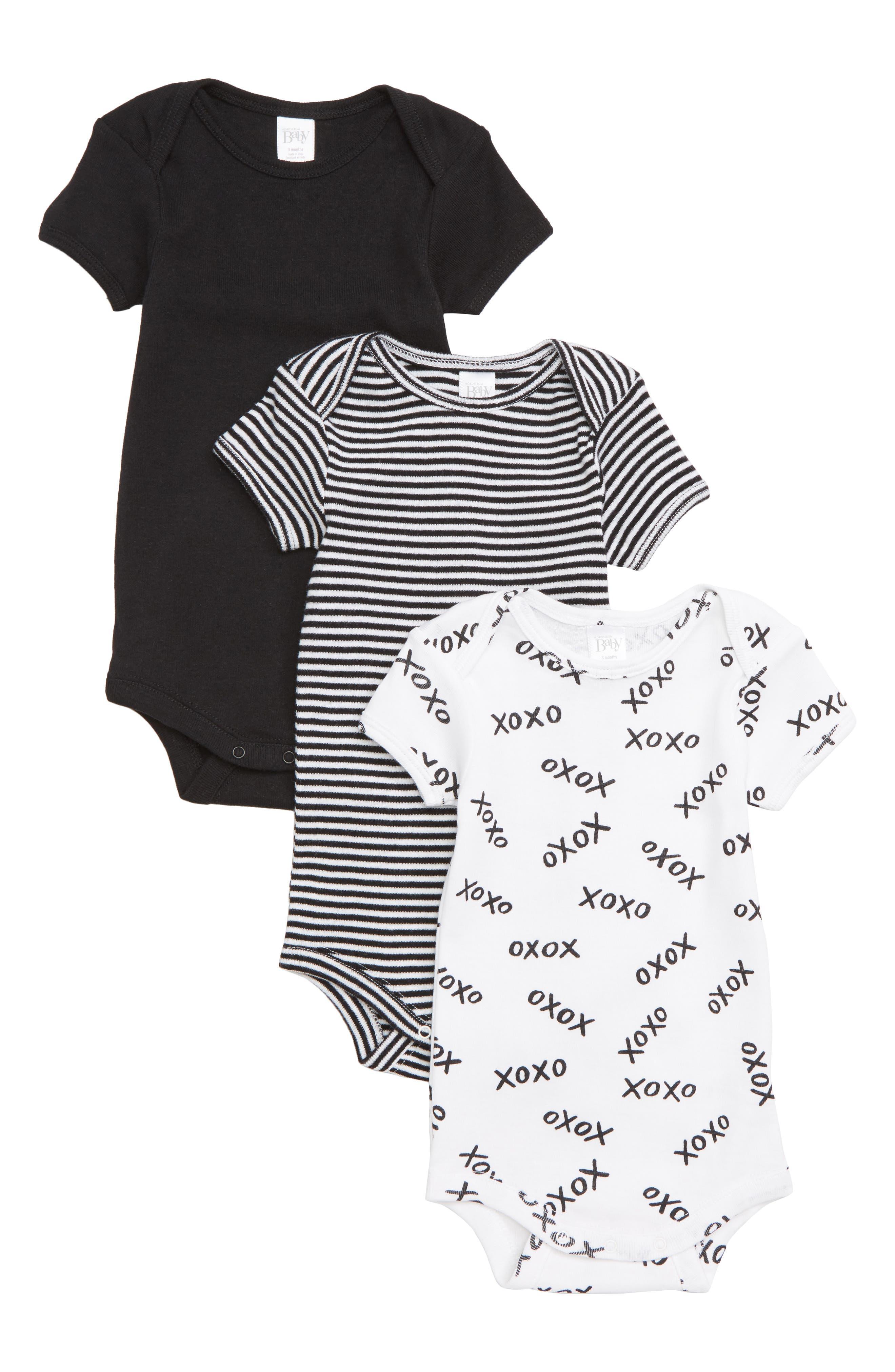Short Sleeve Cotton Bodysuits,                             Main thumbnail 1, color,                             BLACK- WHITE PACK