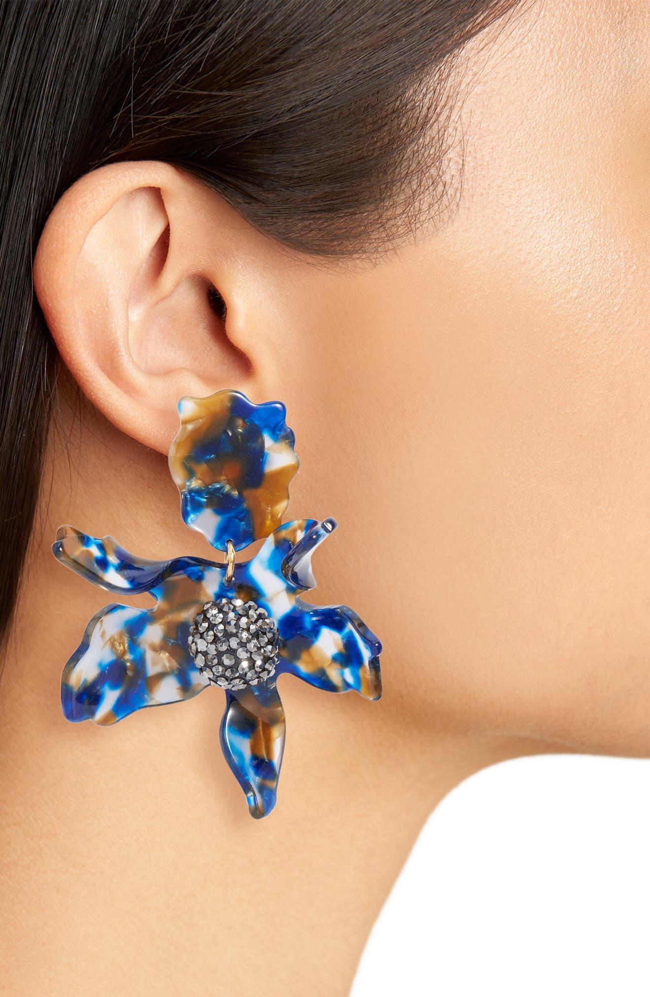 LELE SADOUGHI,                             Crystal Lily Clip Earrings,                             Alternate thumbnail 2, color,                             NIGHT STREAK