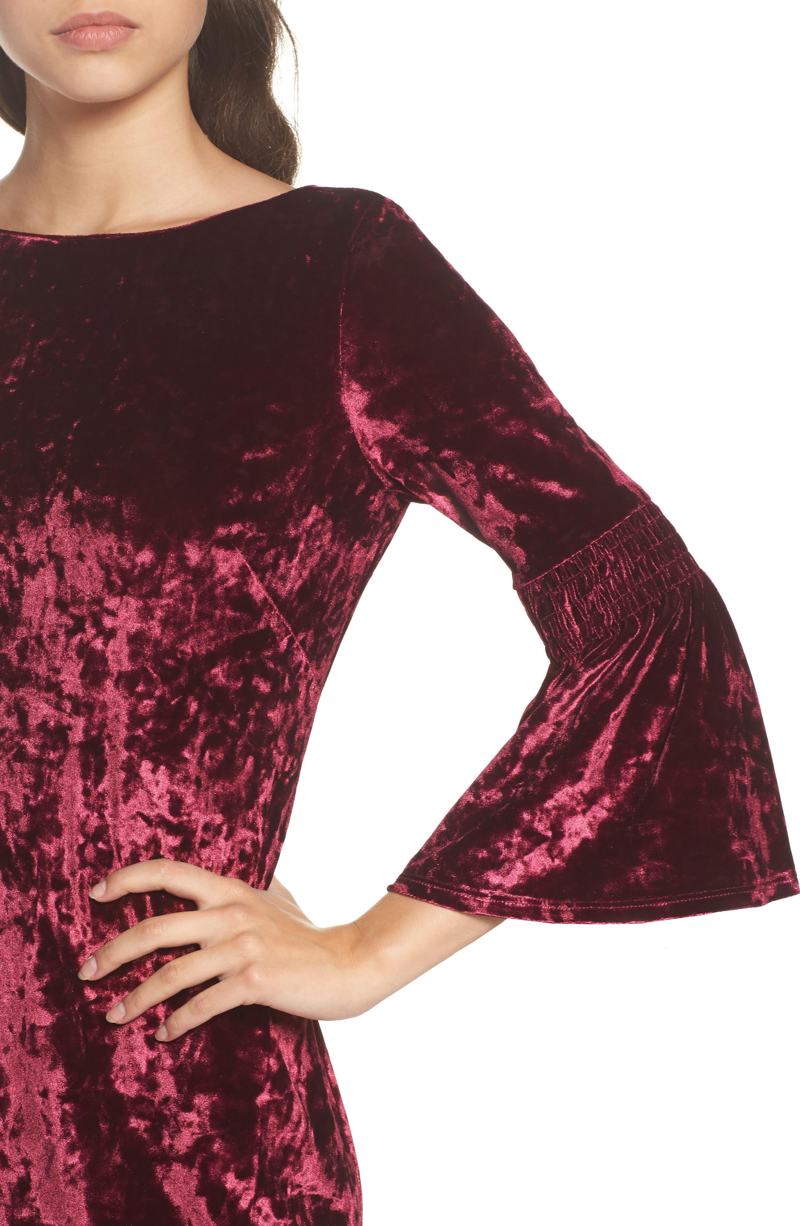 Crushed Velvet Bell Sleeve Dress,                             Alternate thumbnail 4, color,                             601