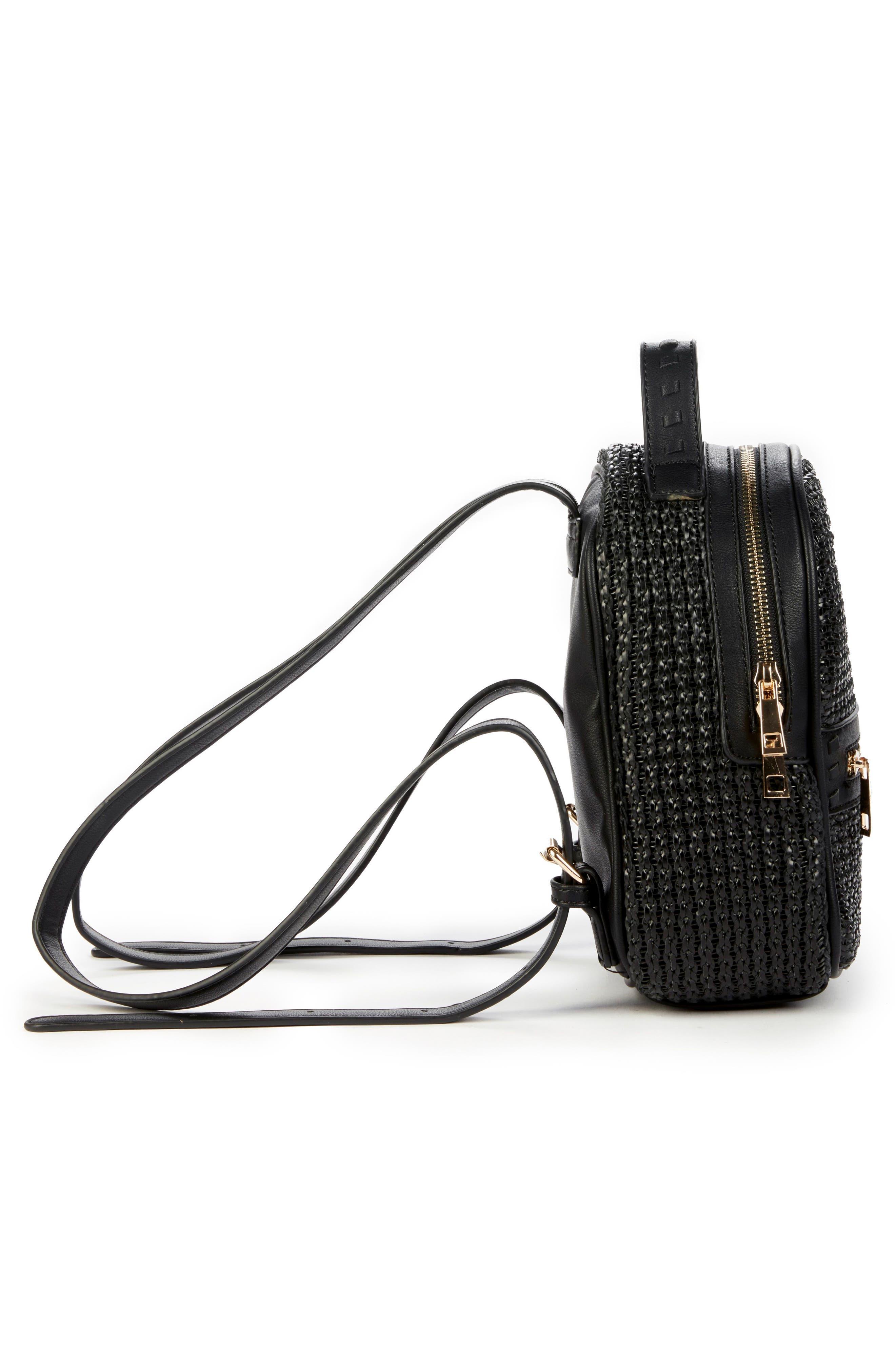 Nikole Faux Leather Backpack,                             Alternate thumbnail 5, color,                             BLACK