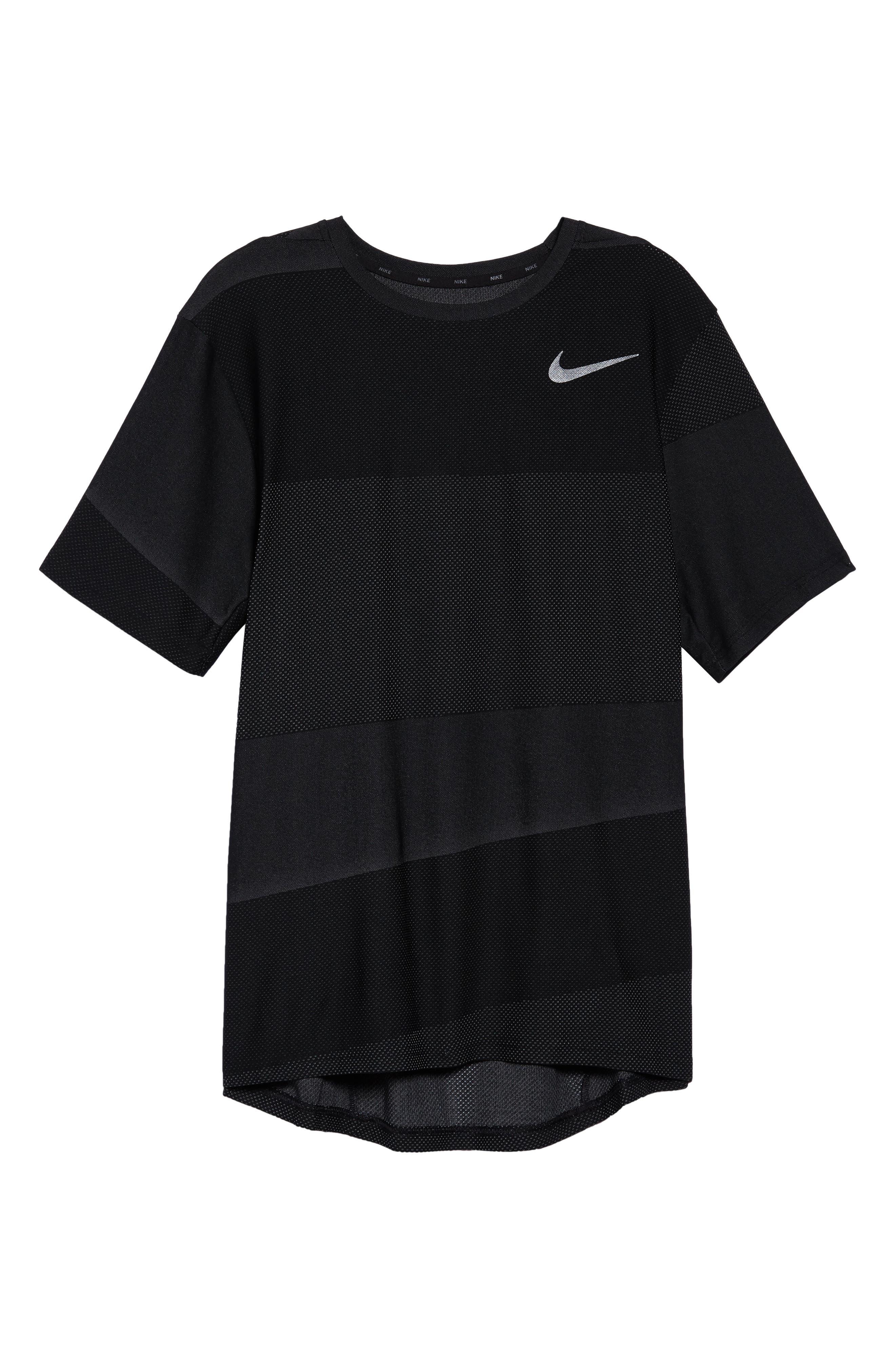 Crewneck Mesh T-Shirt,                             Alternate thumbnail 6, color,                             BLACK/ WHITE/ MTLC HEMATITE