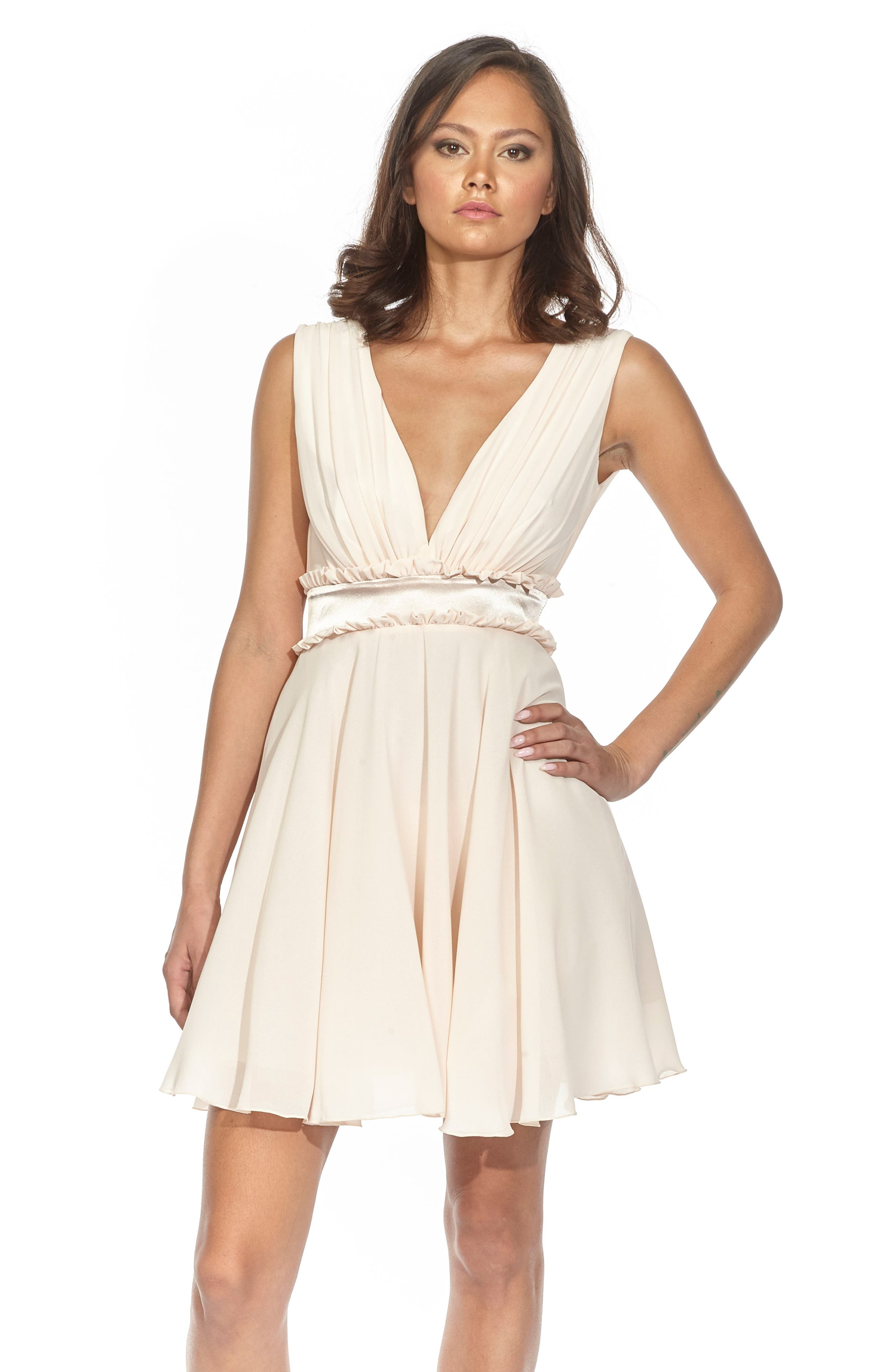 Joany Ruffle Waist Fit & Flare Dress,                             Alternate thumbnail 6, color,                             250