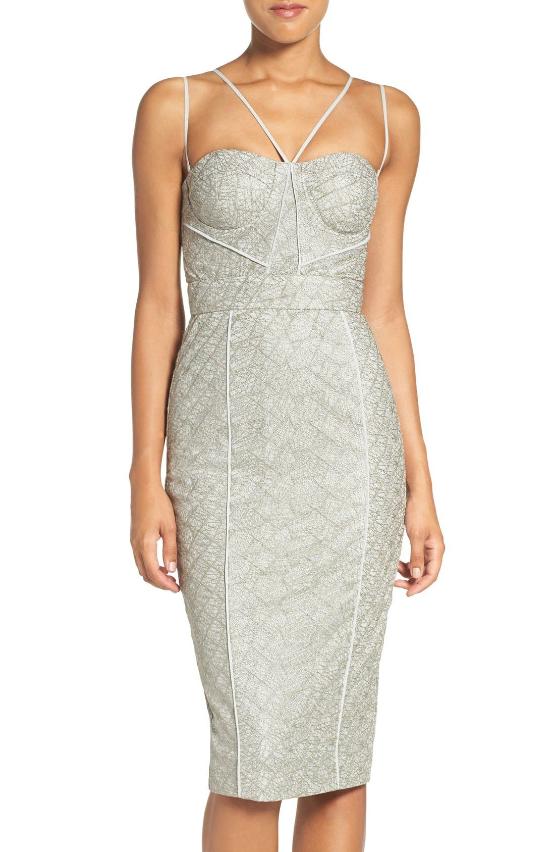 'Milly' Embroidered Mesh Midi Dress, Main, color, 230