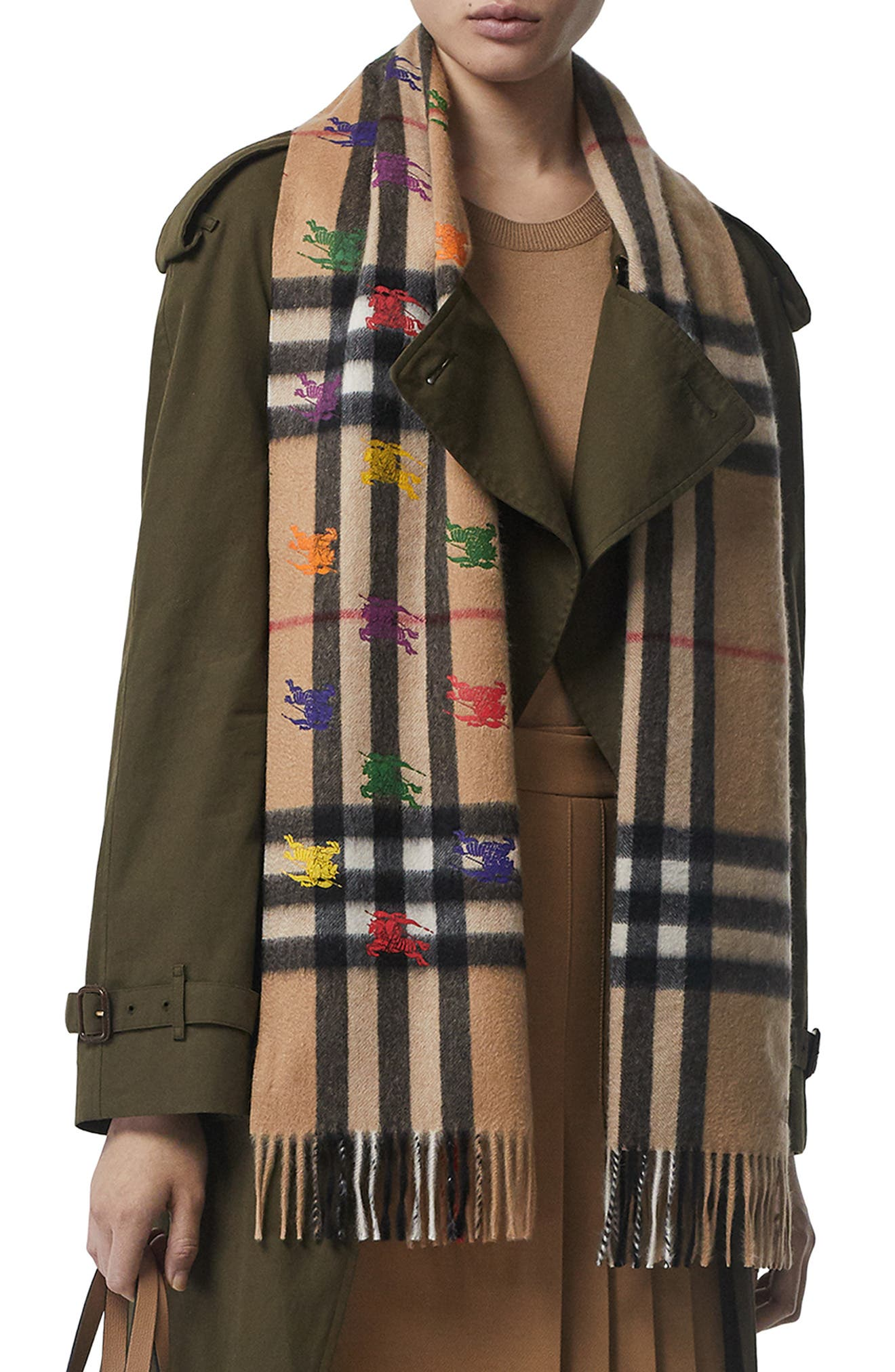BURBERRY,                             Classic Check & Rainbow Knight Cashmere Scarf,                             Alternate thumbnail 2, color,                             CAMEL