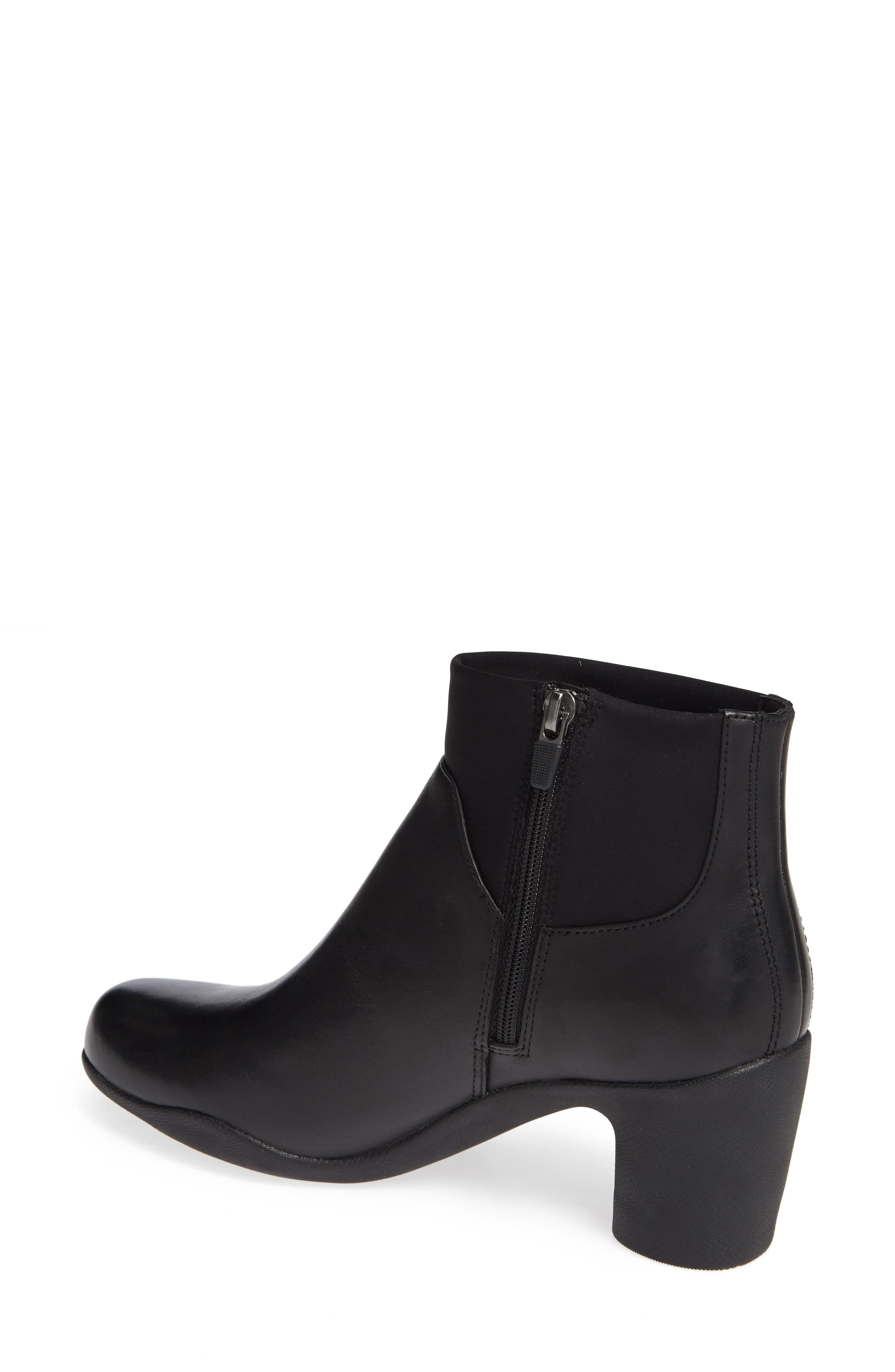 Clarks Un Rose Mid Ankle Boot,                             Alternate thumbnail 2, color,                             BLACK LEATHER