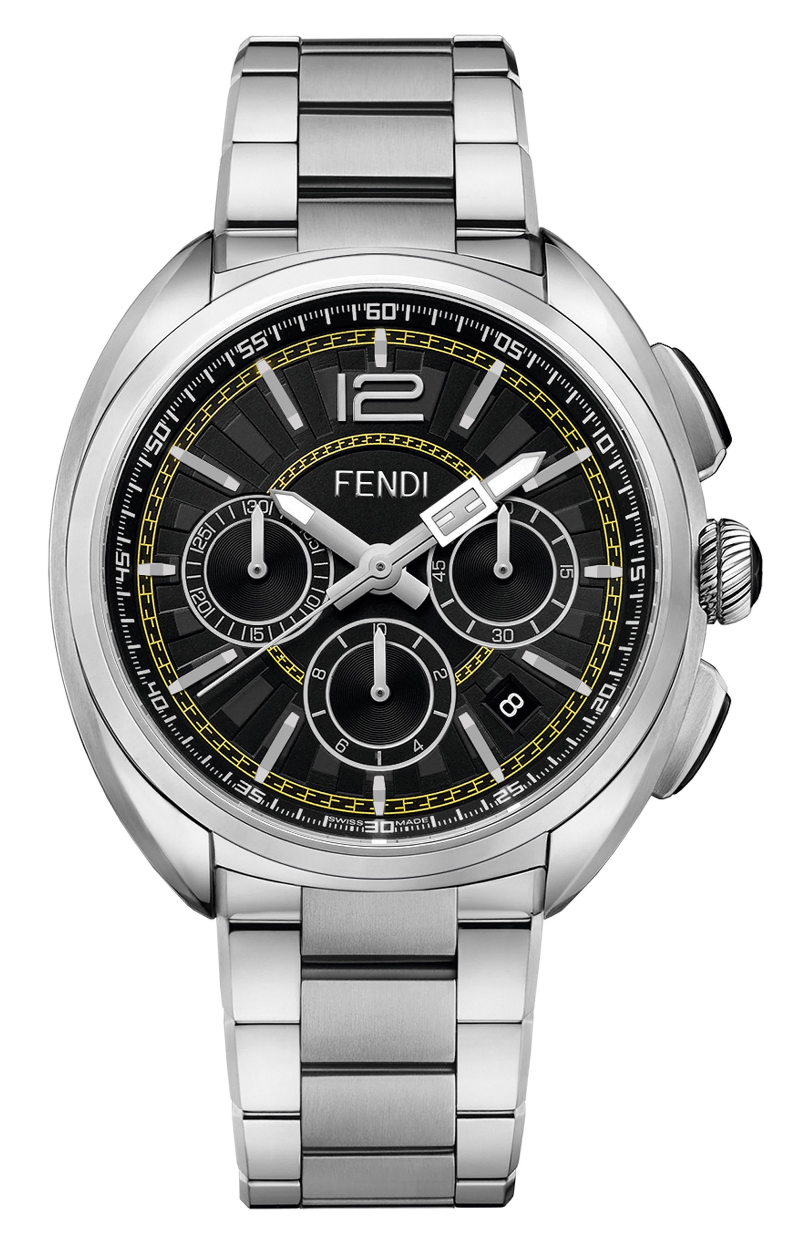 Momento Chronograph Bracelet Watch, 46mm,                             Main thumbnail 1, color,                             SILVER/ BLACK/ SILVER