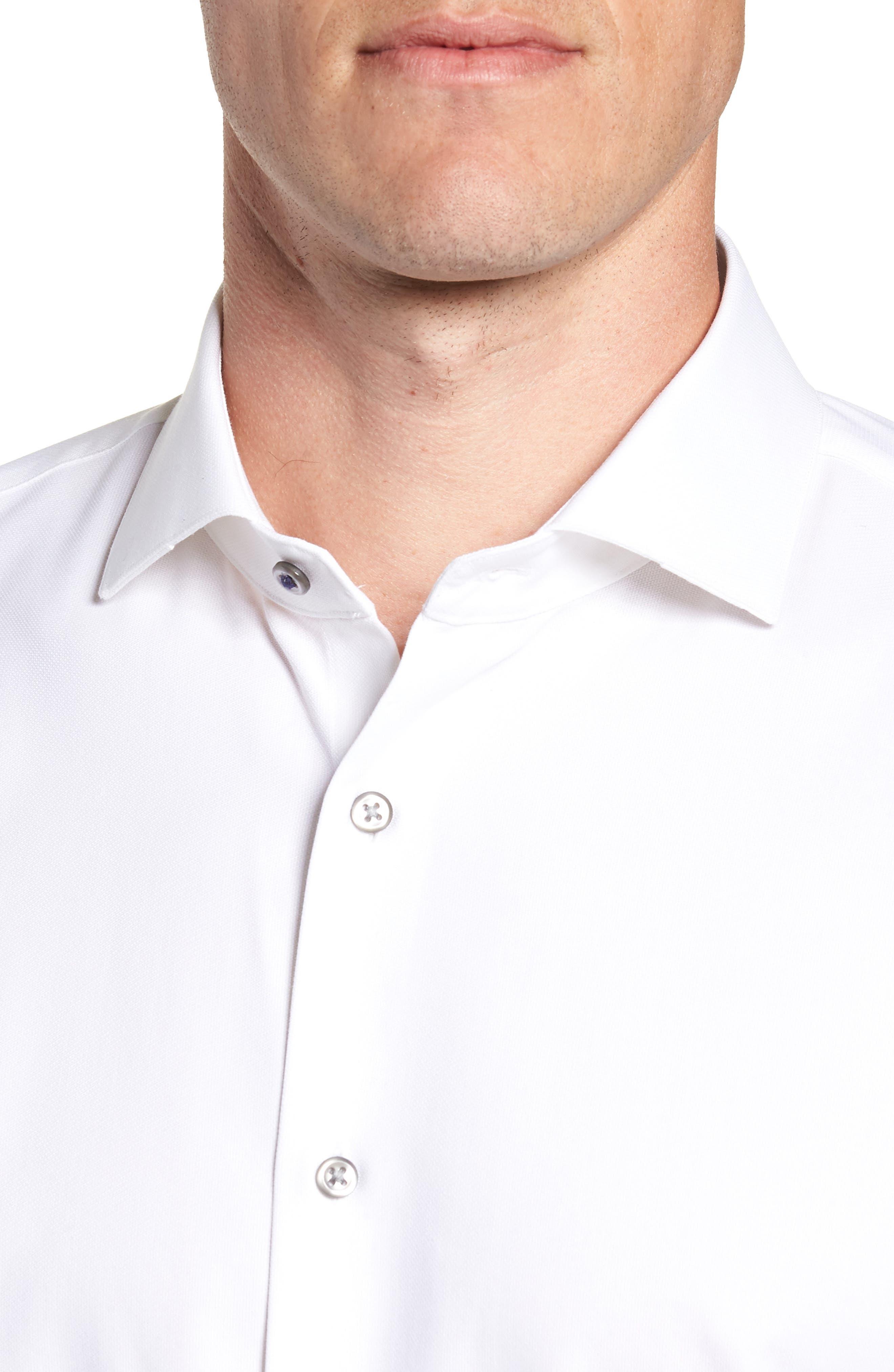 Tech-Smart Trim Fit Stretch Texture Dress Shirt,                             Alternate thumbnail 2, color,                             WHITE
