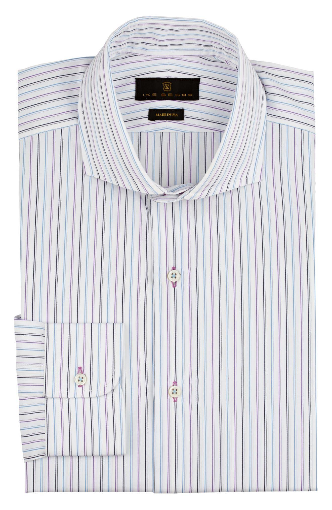 Regular Fit Stripe Dress Shirt,                             Alternate thumbnail 5, color,                             WHITE/ BLUE/ PURPLE