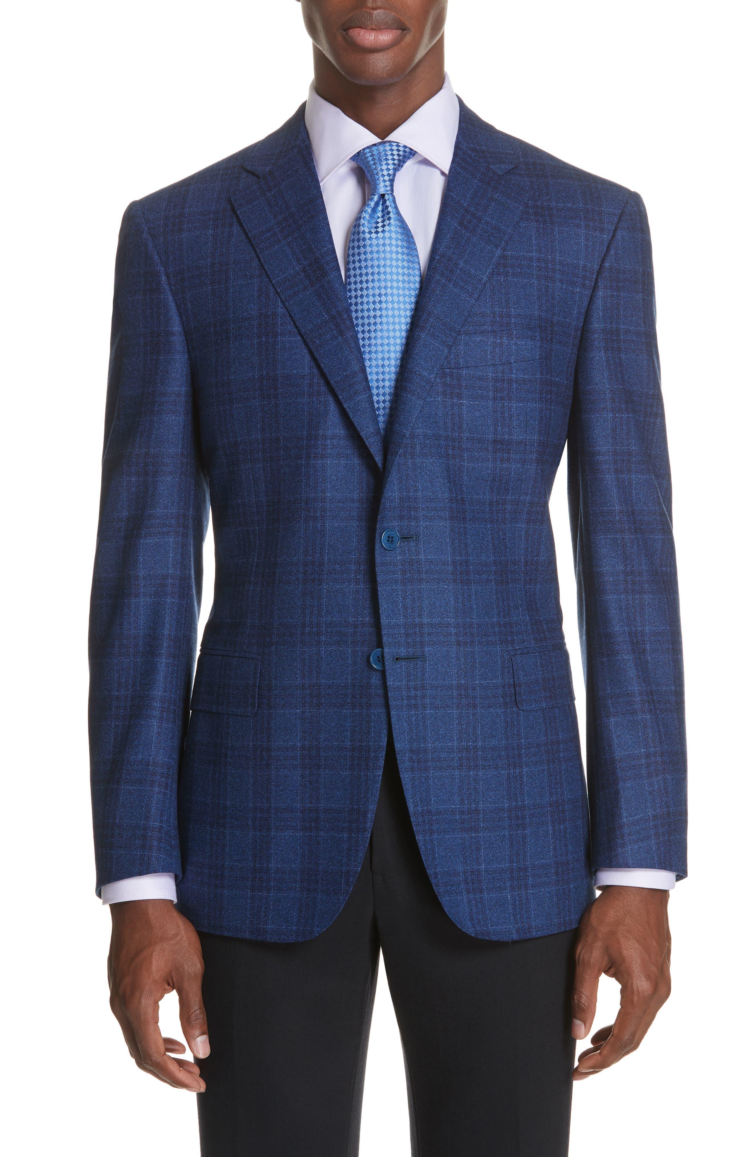 Classic Fit Plaid Wool Sport Coat,                         Main,                         color, BRIGHT BLUE