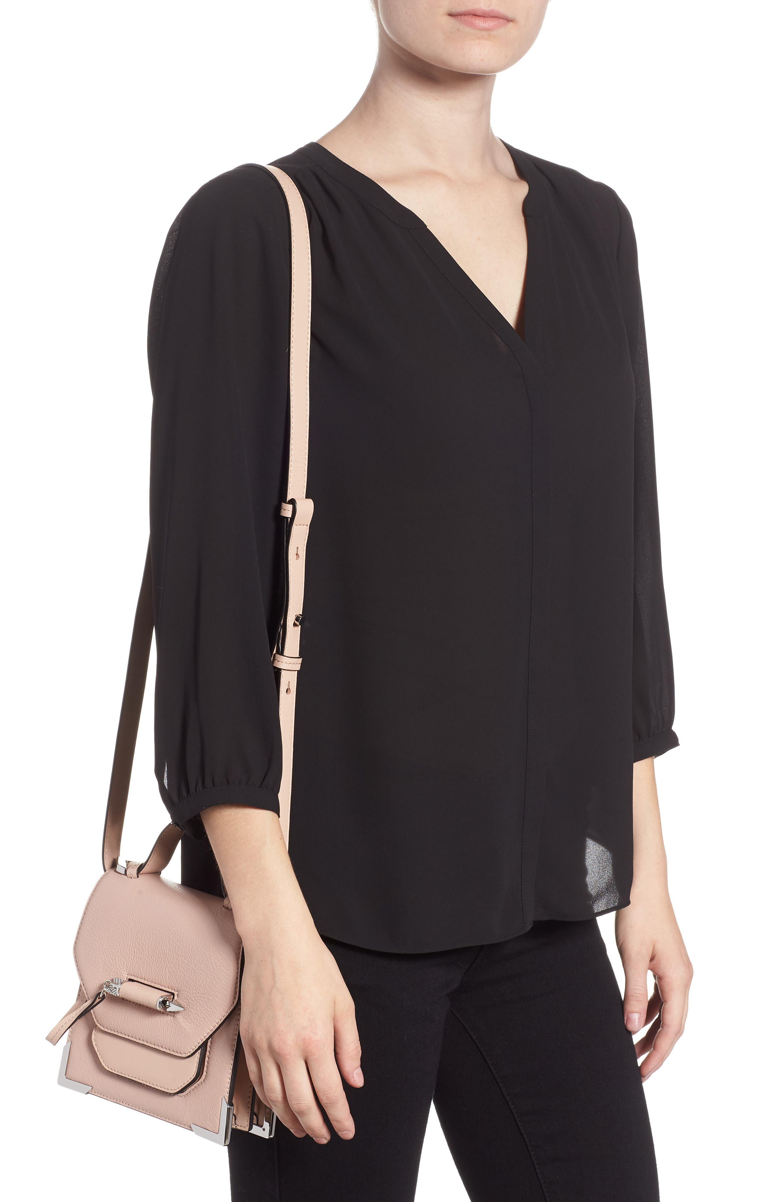 Mini Rubie Leather Shoulder Bag,                             Alternate thumbnail 2, color,                             PETAL/ GUNMETAL