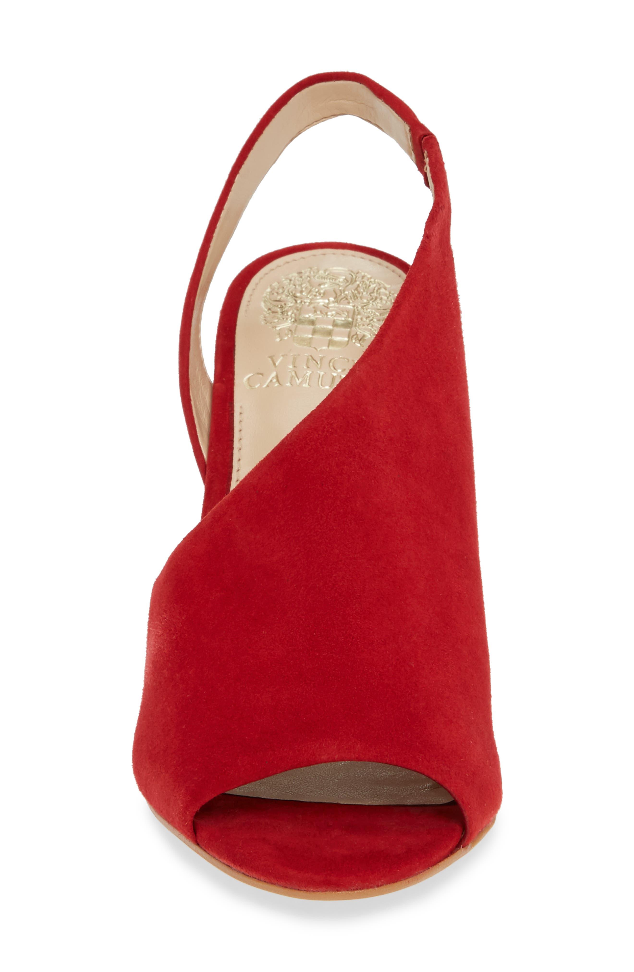 Crasantha Sandal,                             Alternate thumbnail 4, color,                             CHERRY RED SUEDE
