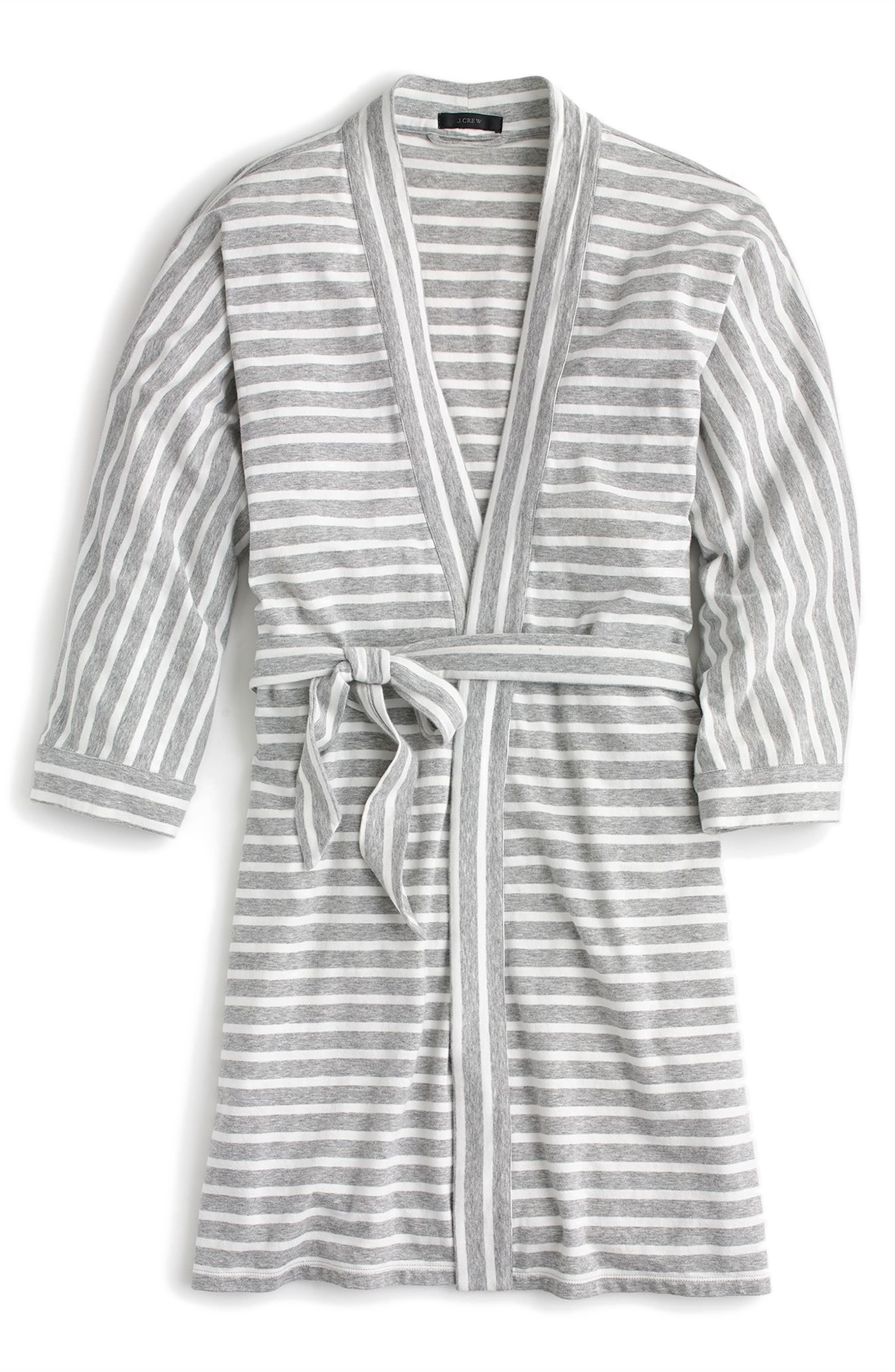 J.CREW,                             Stripe Stretch Cotton Robe,                             Alternate thumbnail 3, color,                             HTHR GRAY IVORY
