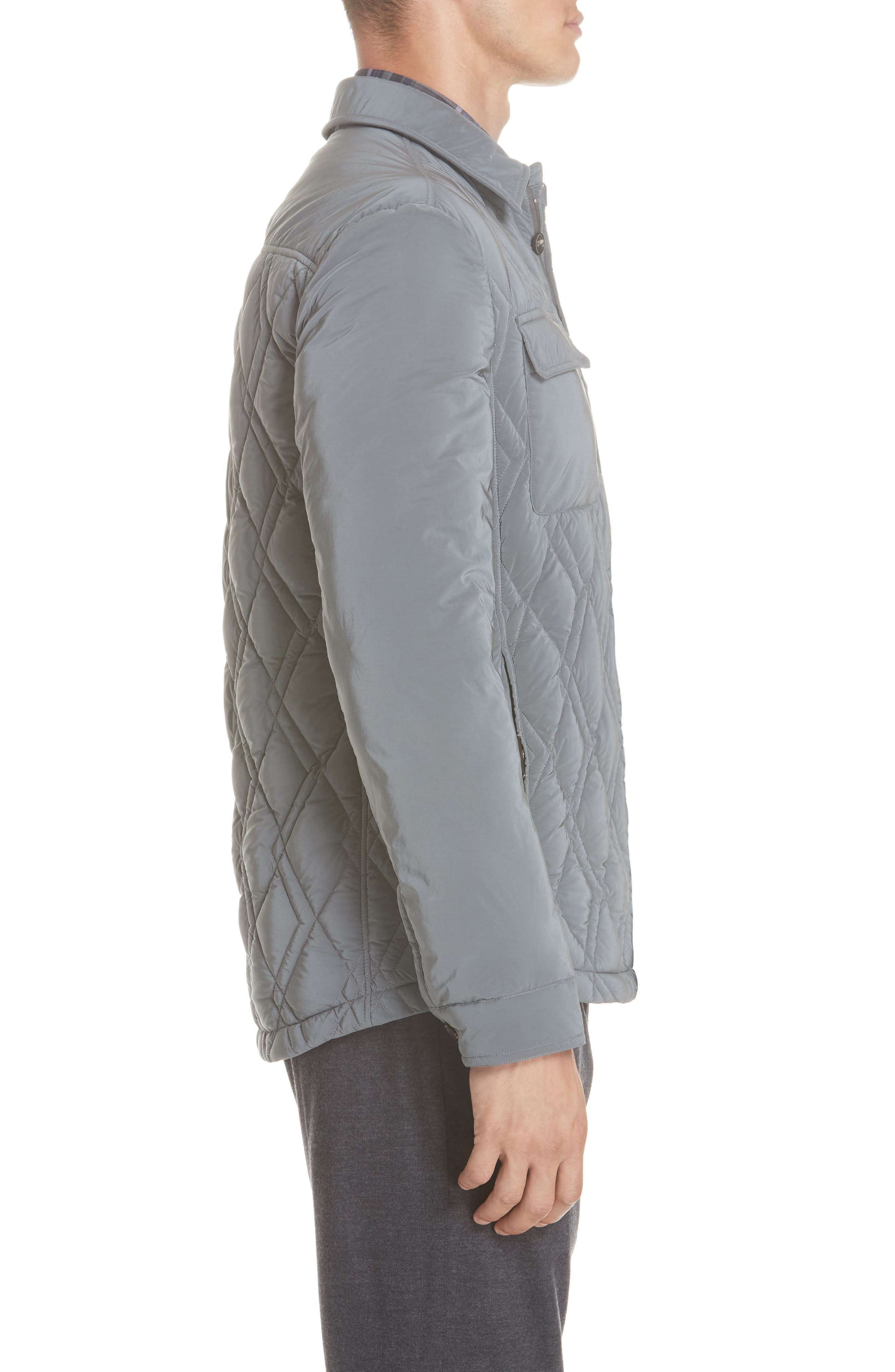 Quilted Down Jacket,                             Alternate thumbnail 3, color,                             GREY