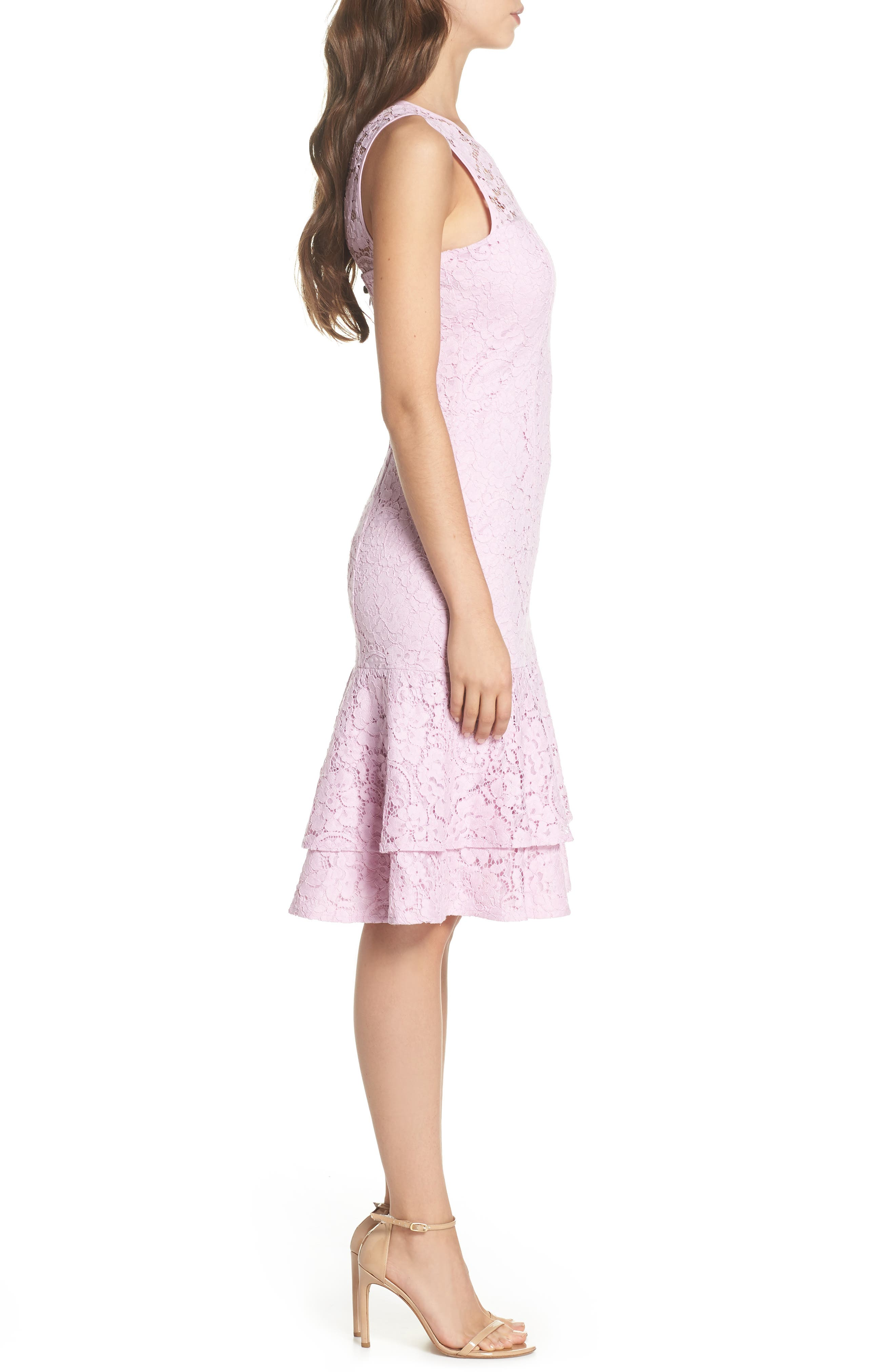 Flounce Hem Lace Dress,                             Alternate thumbnail 3, color,                             650