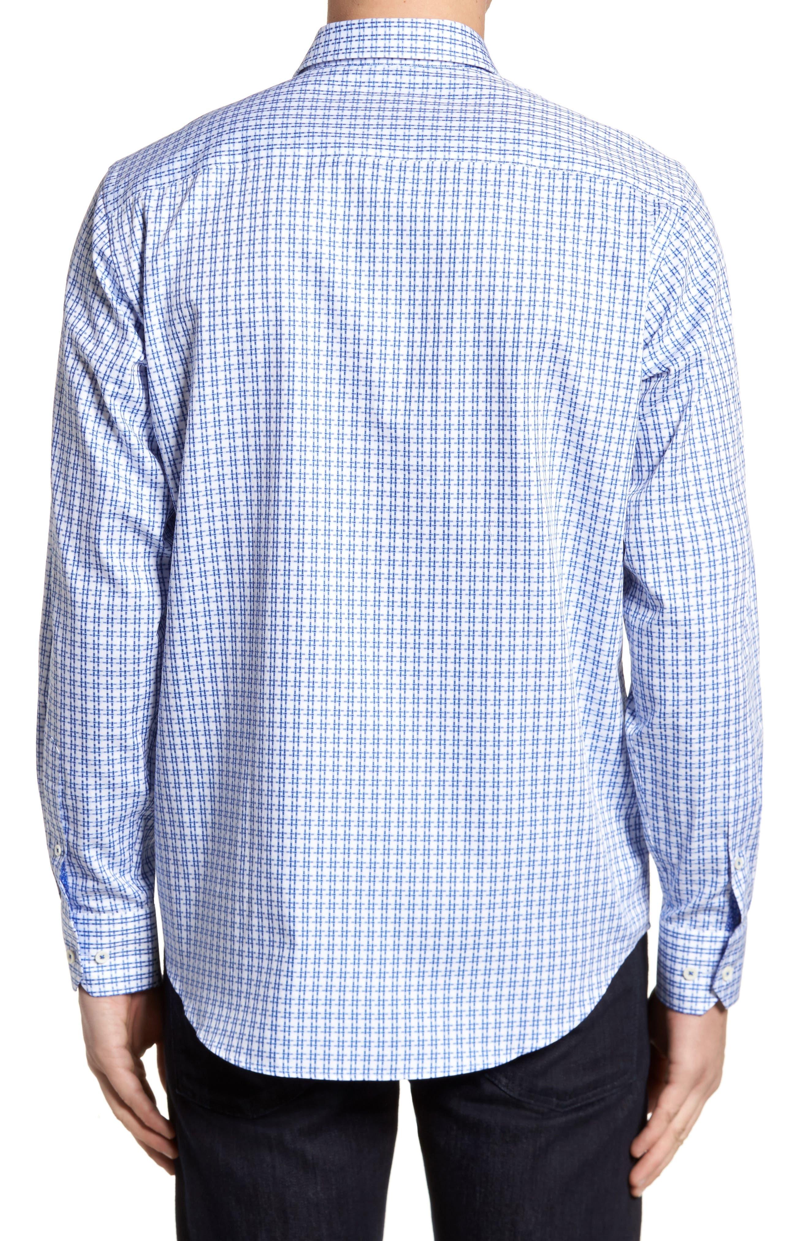 Double Stripe Classic Fit Sport Shirt,                             Alternate thumbnail 2, color,                             NAVY