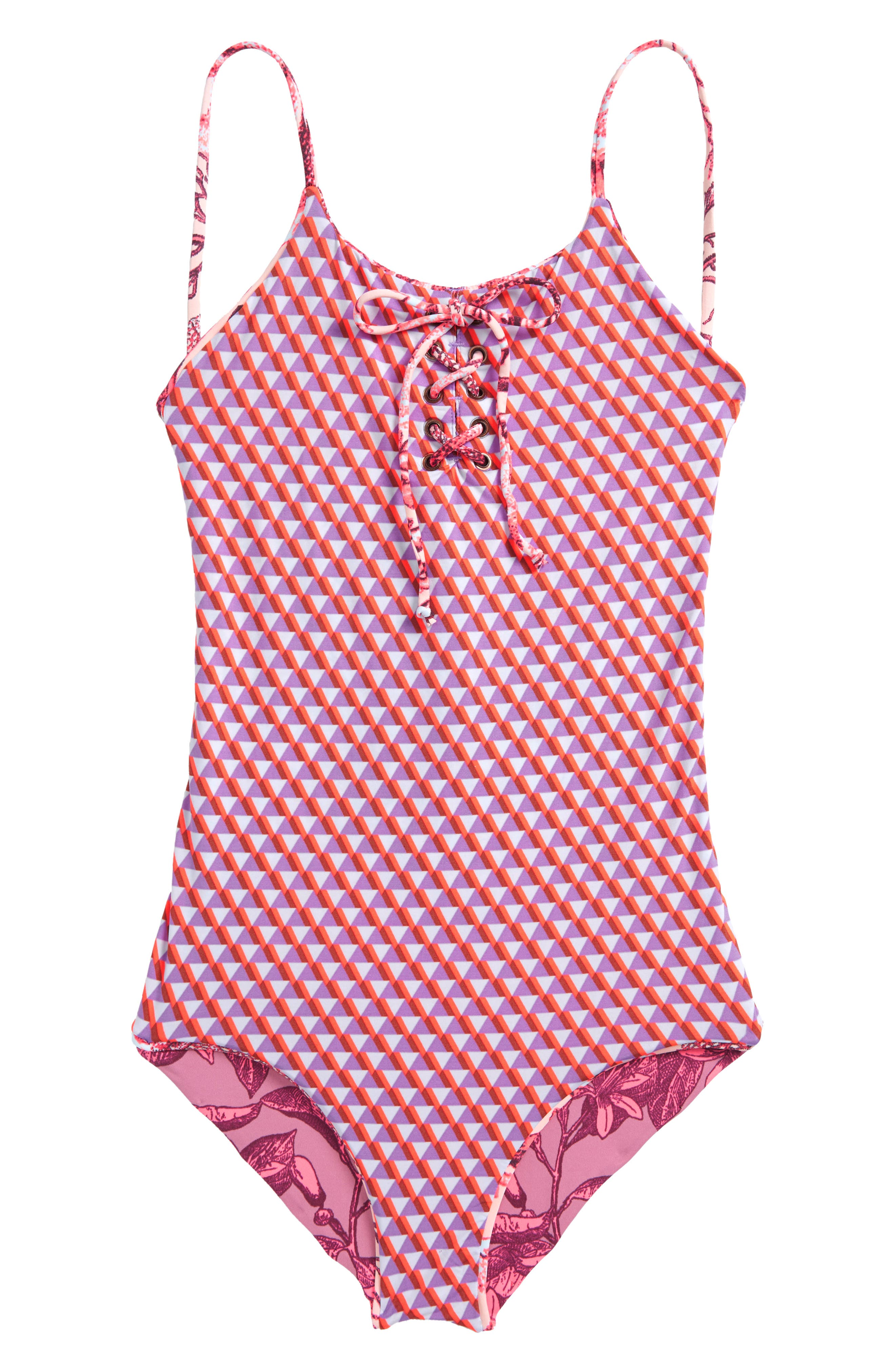 Forever Summer Lace-Up One-Piece Reversible Swimsuit,                             Alternate thumbnail 2, color,                             650