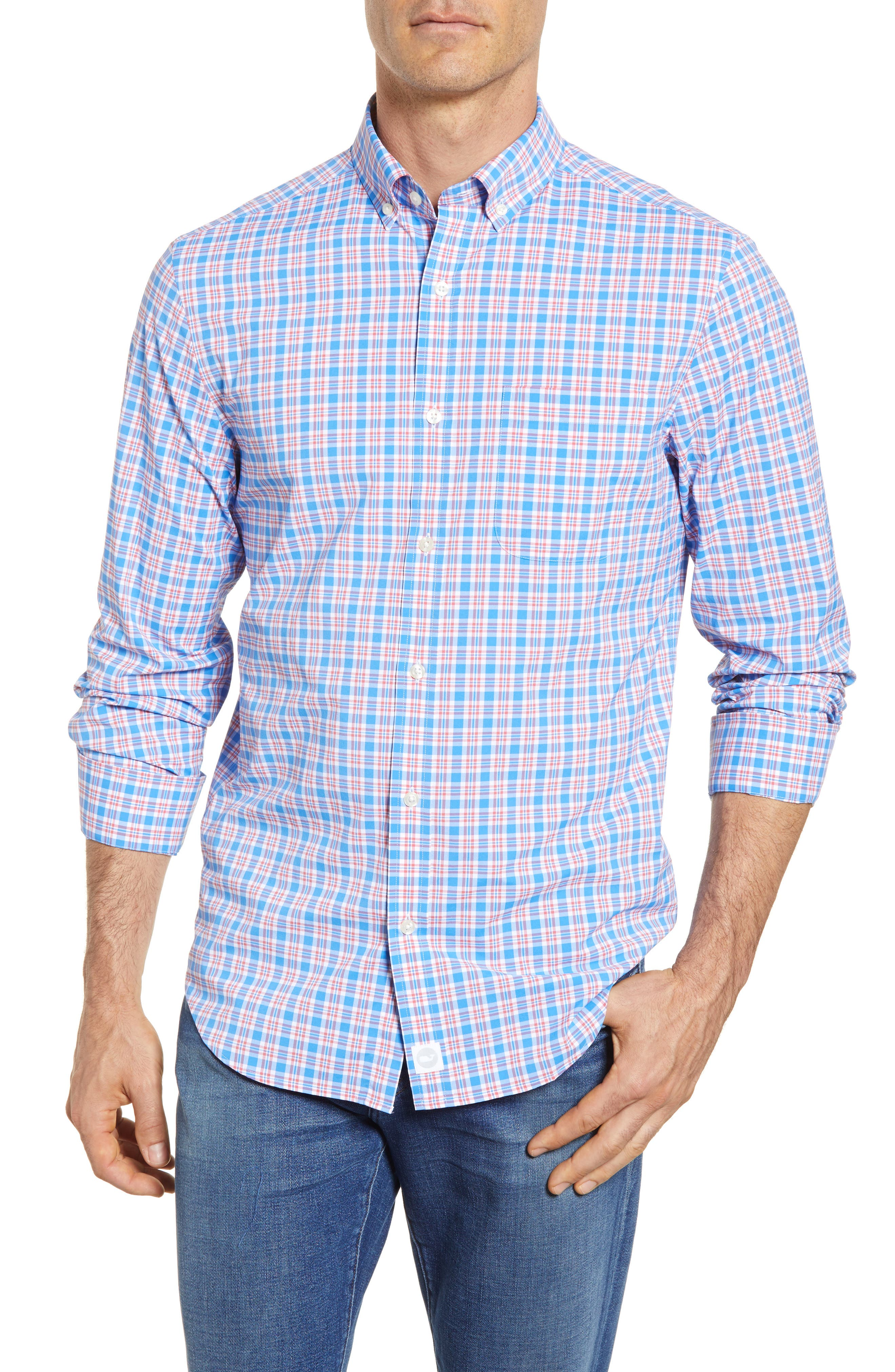 Lighthouse Road Regular Fit Plaid Sport Shirt,                         Main,                         color, 415