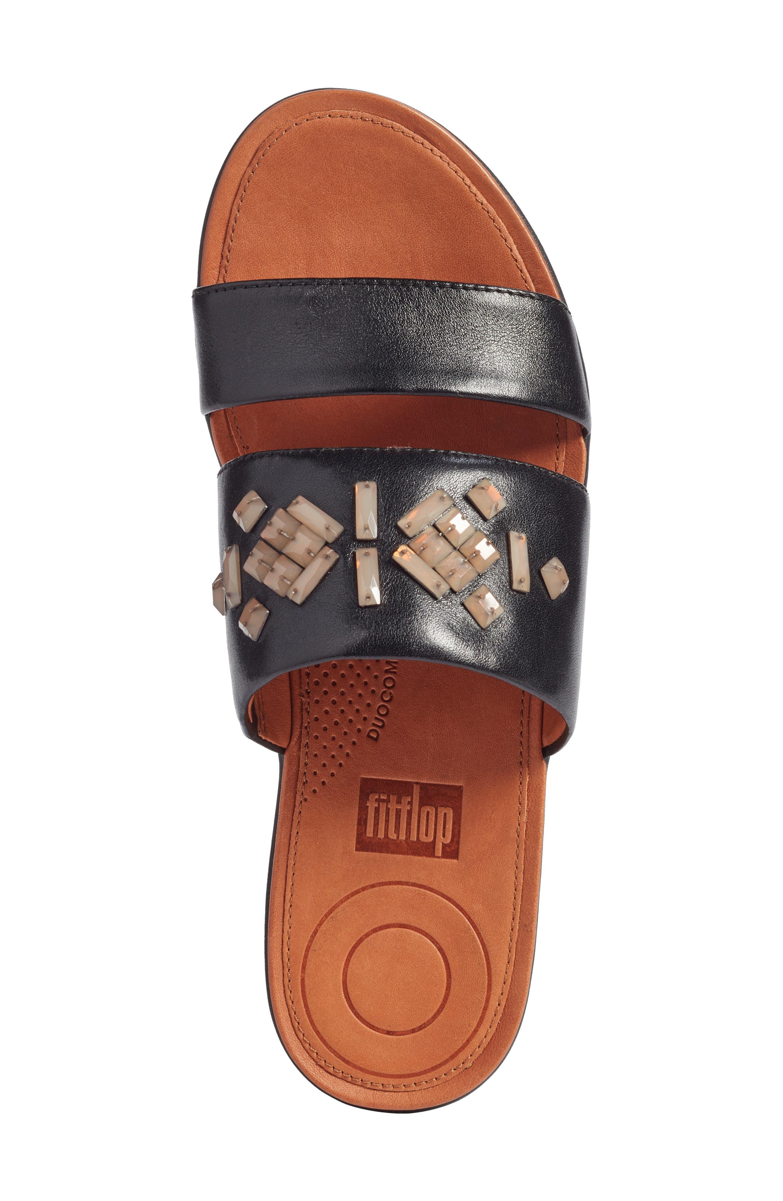 Delta Slide Sandal,                             Alternate thumbnail 5, color,                             BLACK LEATHER