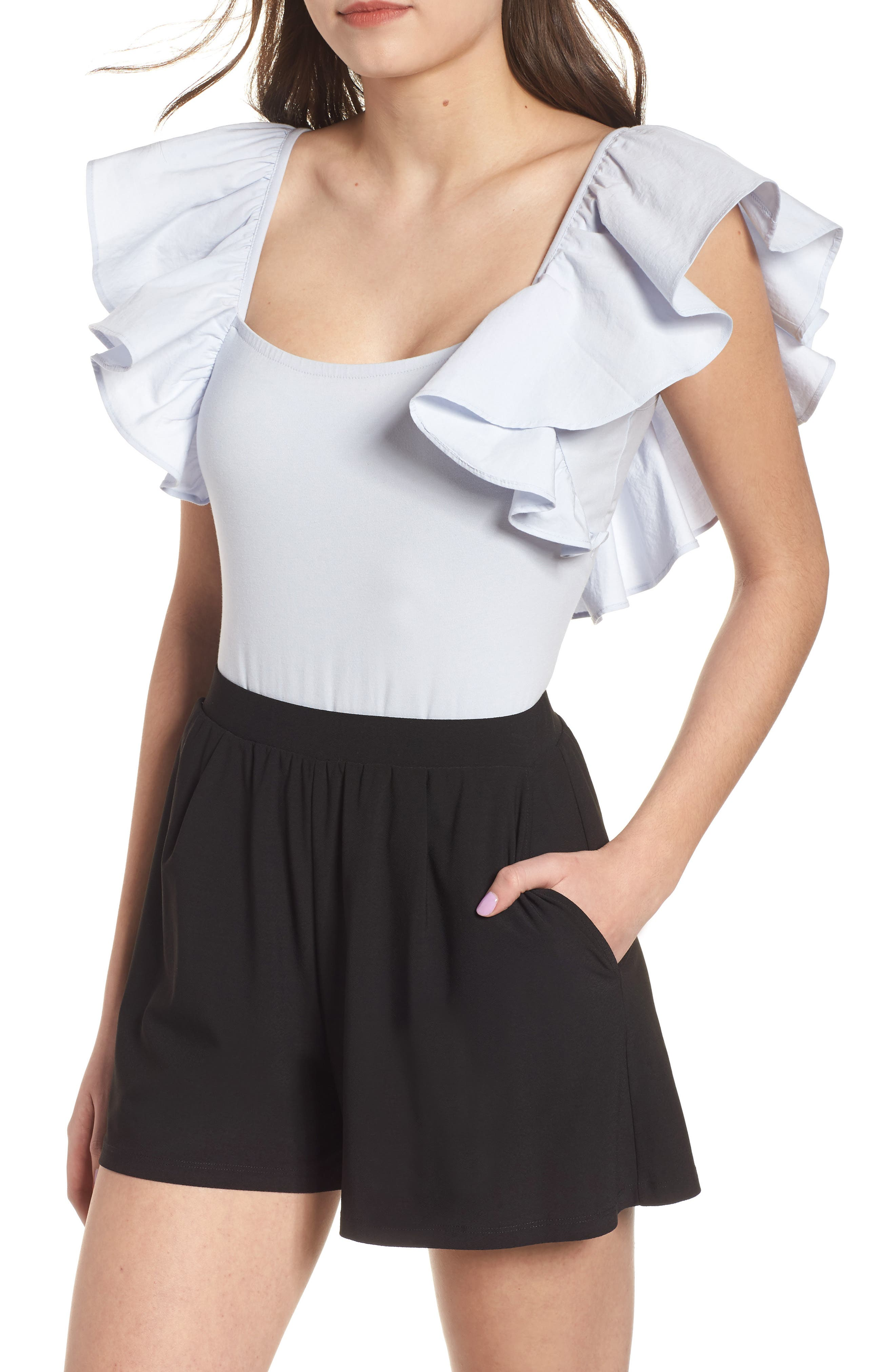Ruffle Sleeve Bodysuit,                         Main,                         color, 450