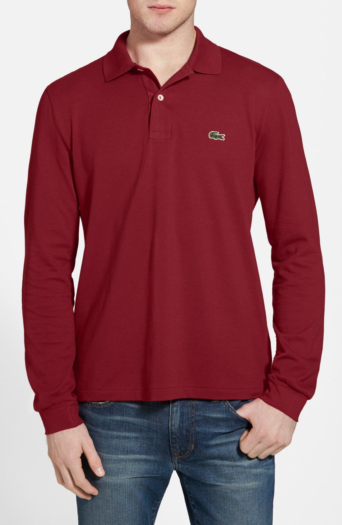 LACOSTE Classic Fit Long Sleeve Pique Polo in Bordeaux Red