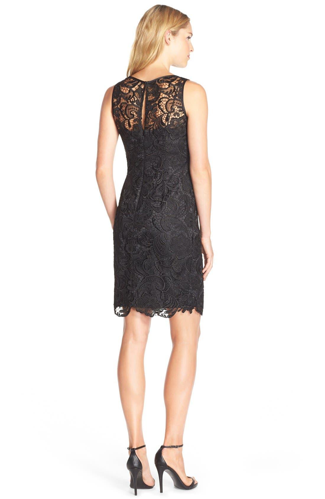 Illusion Bodice Lace Sheath Dress,                             Alternate thumbnail 22, color,