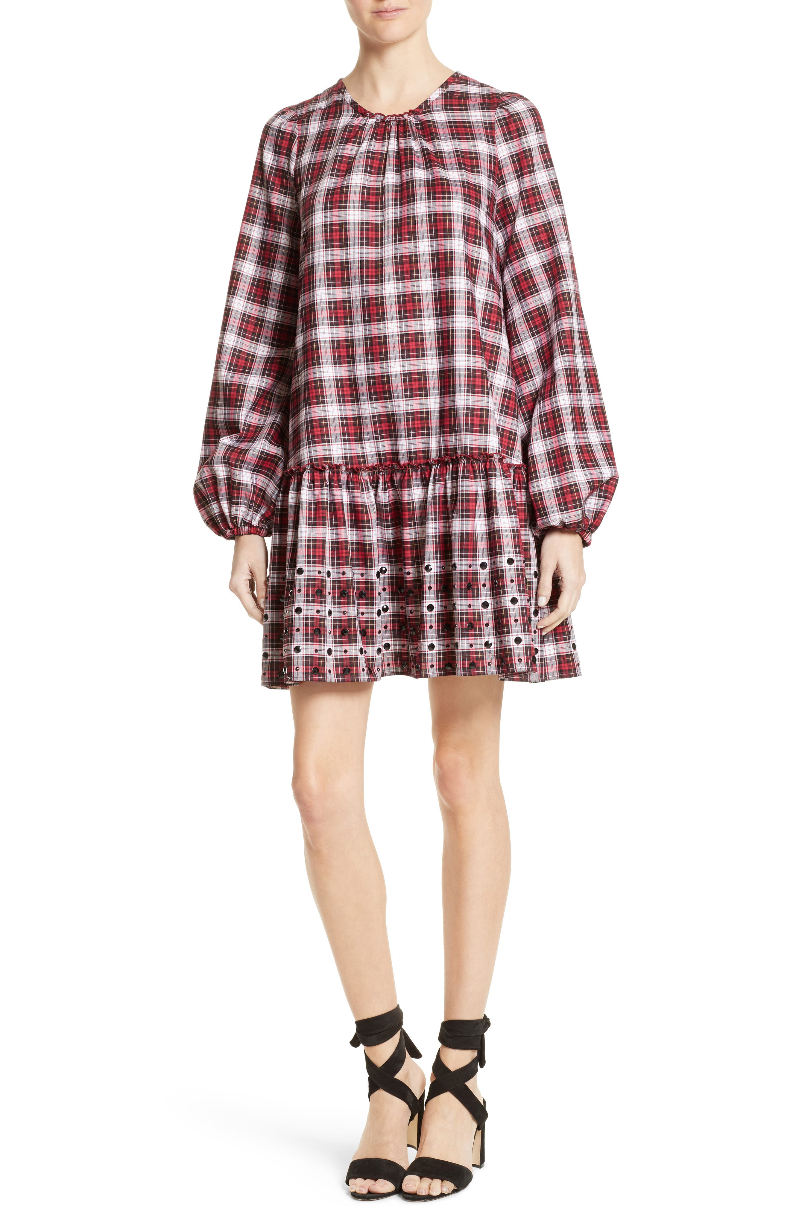 Crystal Embellished Plaid Dress,                             Main thumbnail 1, color,                             100