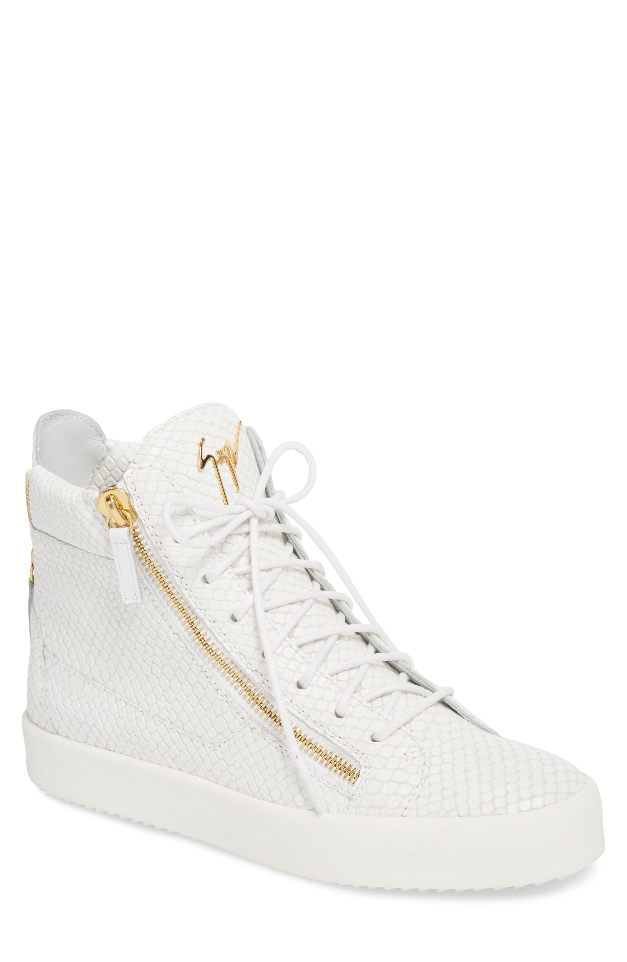 Snake Embossed High Top Sneaker,                         Main,                         color, BIANCO
